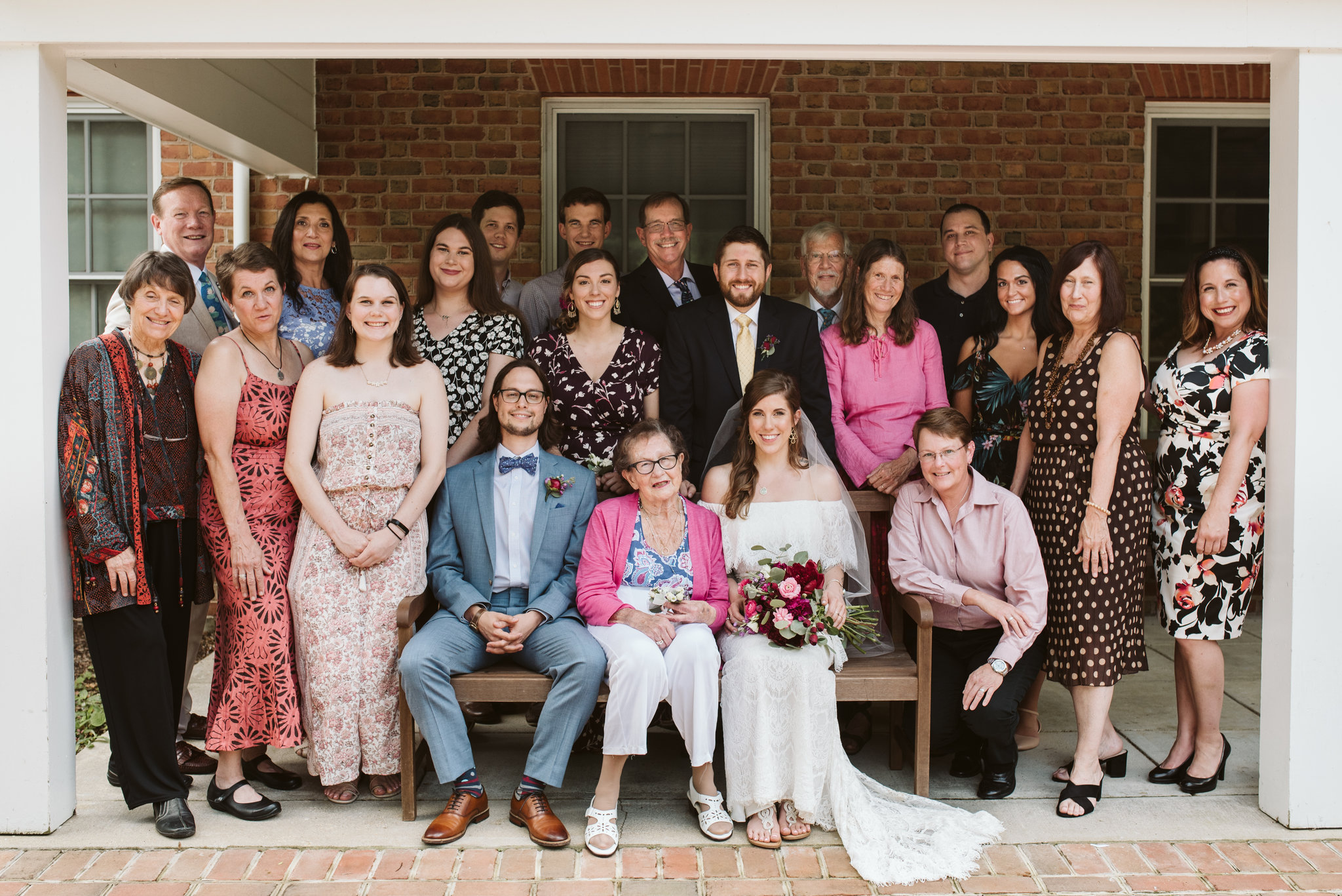 Annapolis, Quaker Wedding, Maryland Wedding Photographer, Intimate, Small Wedding, Vintage, DIY, Portrait of Entire Family, Bride and Groom with Family