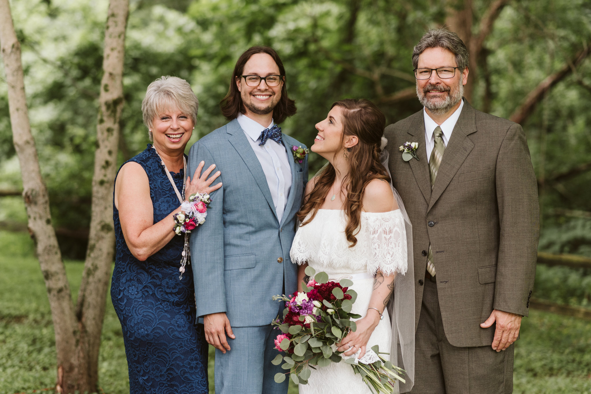 Annapolis, Quaker Wedding, Maryland Wedding Photographer, Intimate, Small Wedding, Vintage, DIY, Bride and Groom with Parents, Portrait Photo