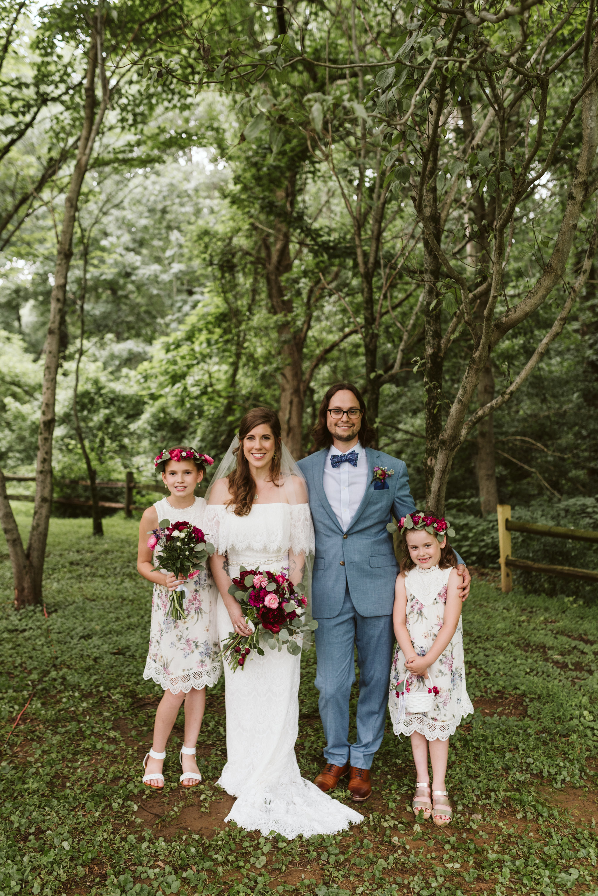 Annapolis, Quaker Wedding, Maryland Wedding Photographer, Intimate, Small Wedding, Vintage, DIY, Bride and Groom with Flower Girls, Portrait Photo