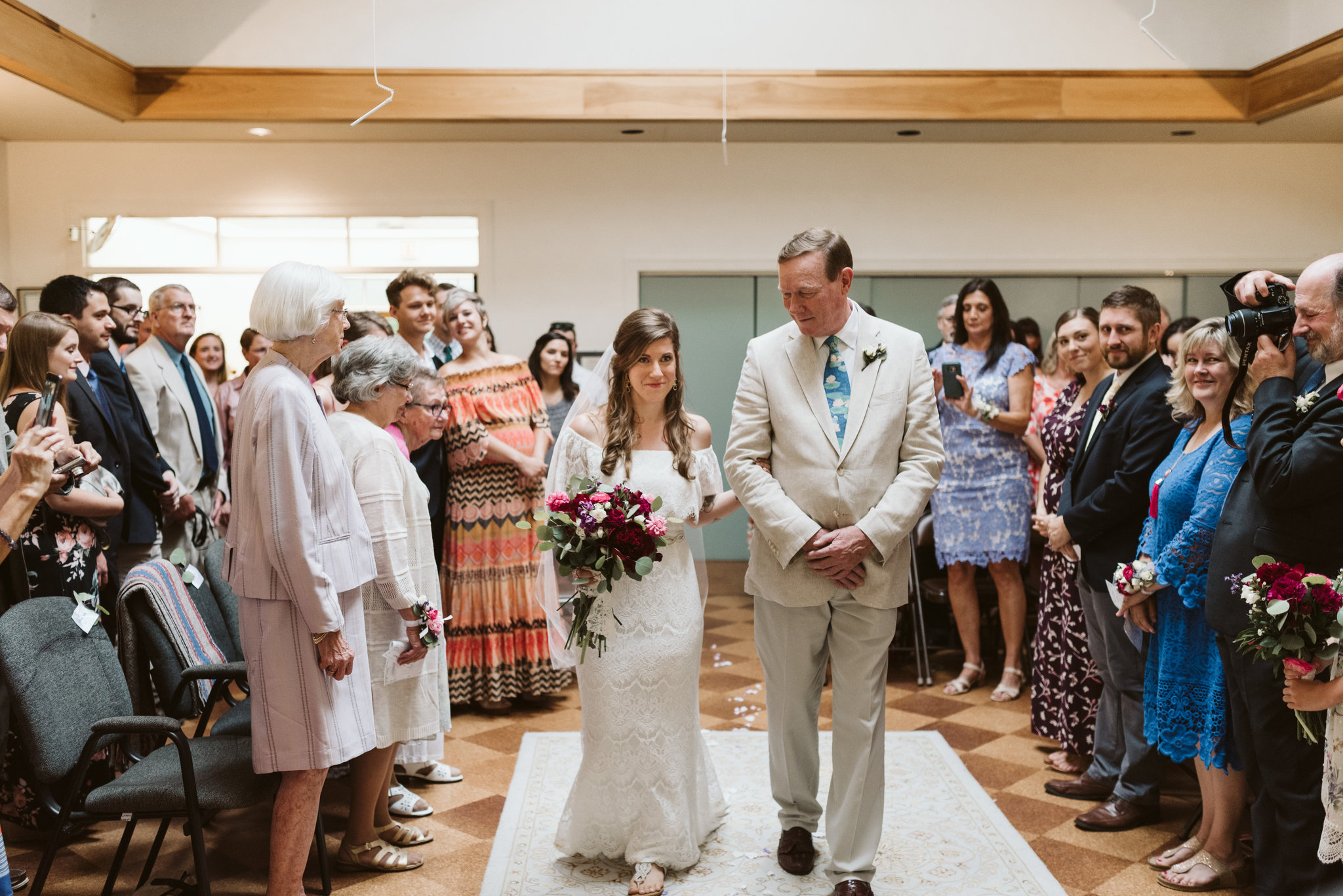 Annapolis, Quaker Wedding, Maryland Wedding Photographer, Intimate, Small Wedding, Vintage, DIY, Bride Walking Down Aisle with Father, Wedding Guests Standing during Ceremony