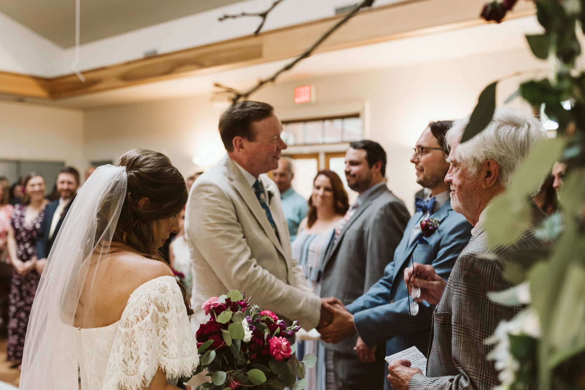 Annapolis, Quaker Wedding, Baltimore Wedding Photographer, Intimate, Small Wedding, Vintage, DIY, Father of the Bride Shaking Groom's Hand