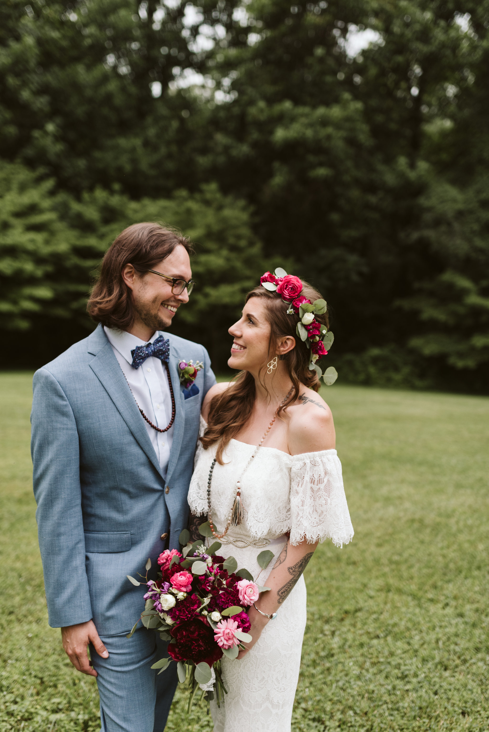 Annapolis, Quaker Wedding, Maryland Wedding Photographer, Intimate, Small Wedding, Vintage, DIY, Bride and Groom Smiling at Each Other, Outdoor Reception