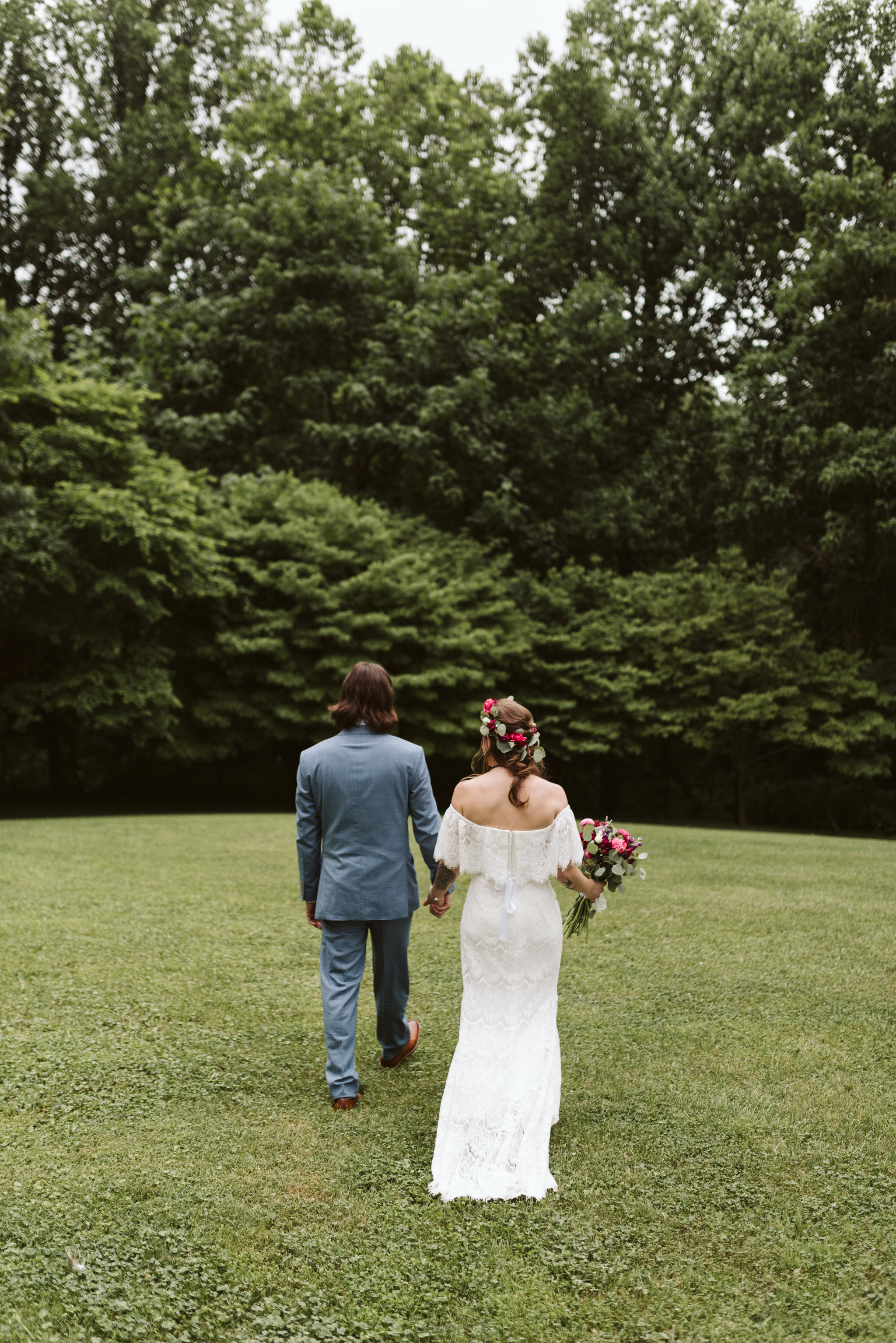 Annapolis, Quaker Wedding, Maryland Wedding Photographer, Intimate, Small Wedding, Vintage, DIY, Bride and Groom Walking Hand in Hand