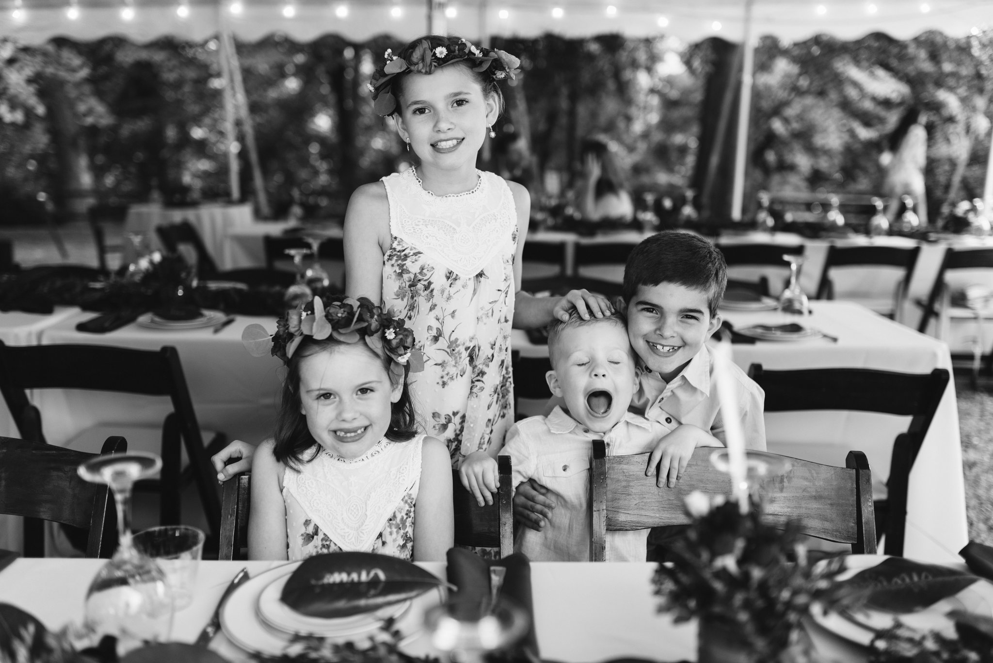 Annapolis, Quaker Wedding, Maryland Wedding Photographer, Intimate, Small Wedding, Vintage, DIY, Portrait of Kids at Reception, Black and White Photo, Flower Girls