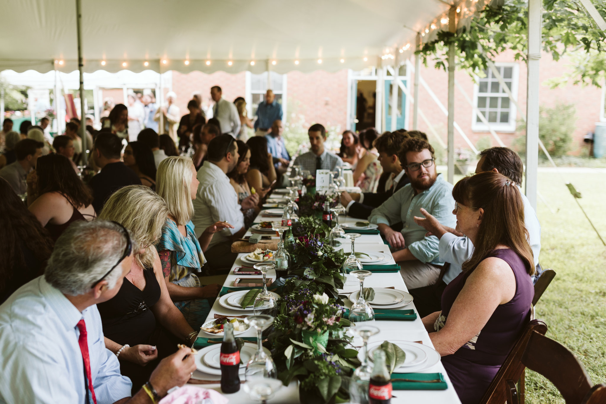 Annapolis, Quaker Wedding, Maryland Wedding Photographer, Intimate, Small Wedding, Vintage, DIY, Wedding Guests at Reception Table, Outdoor Reception