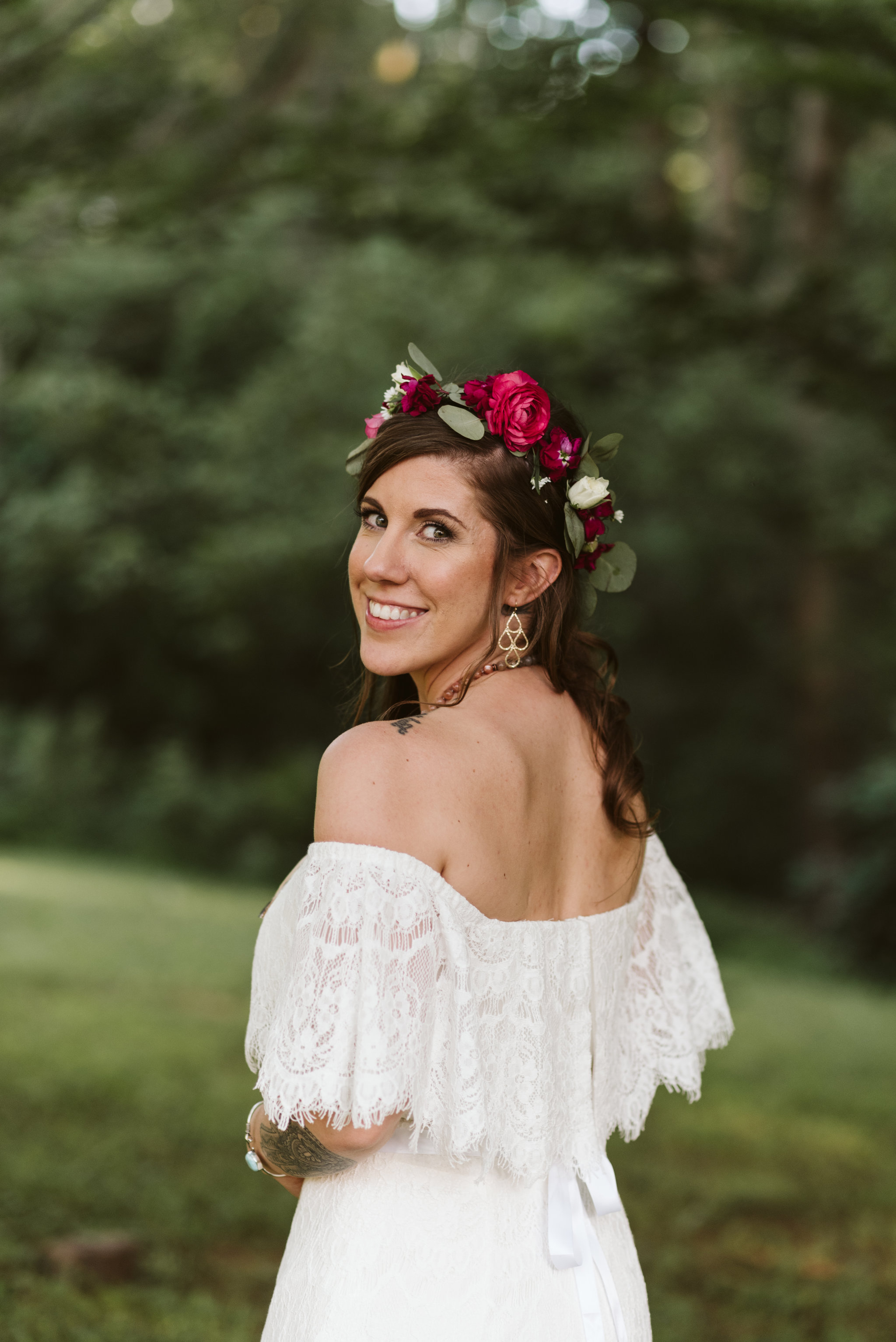 Annapolis, Quaker Wedding, Maryland Wedding Photographer, Intimate, Small Wedding, Vintage, DIY, Portrait of Bride Looking Over Shoulder, Flower Crown, Pink Peony