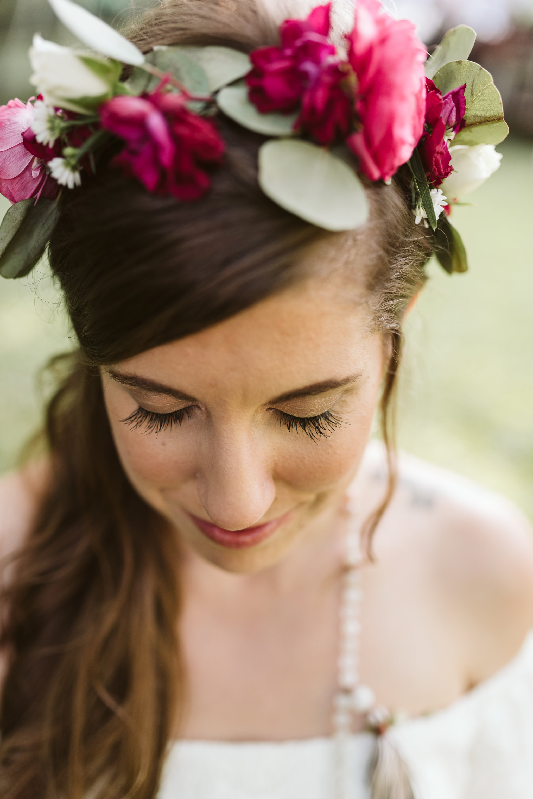 Annapolis, Quaker Wedding, Maryland Wedding Photographer, Intimate, Small Wedding, Vintage, DIY, Closeup of Bride, Flower Crown, Pink and White Flowers, Classic Bridal Makeup