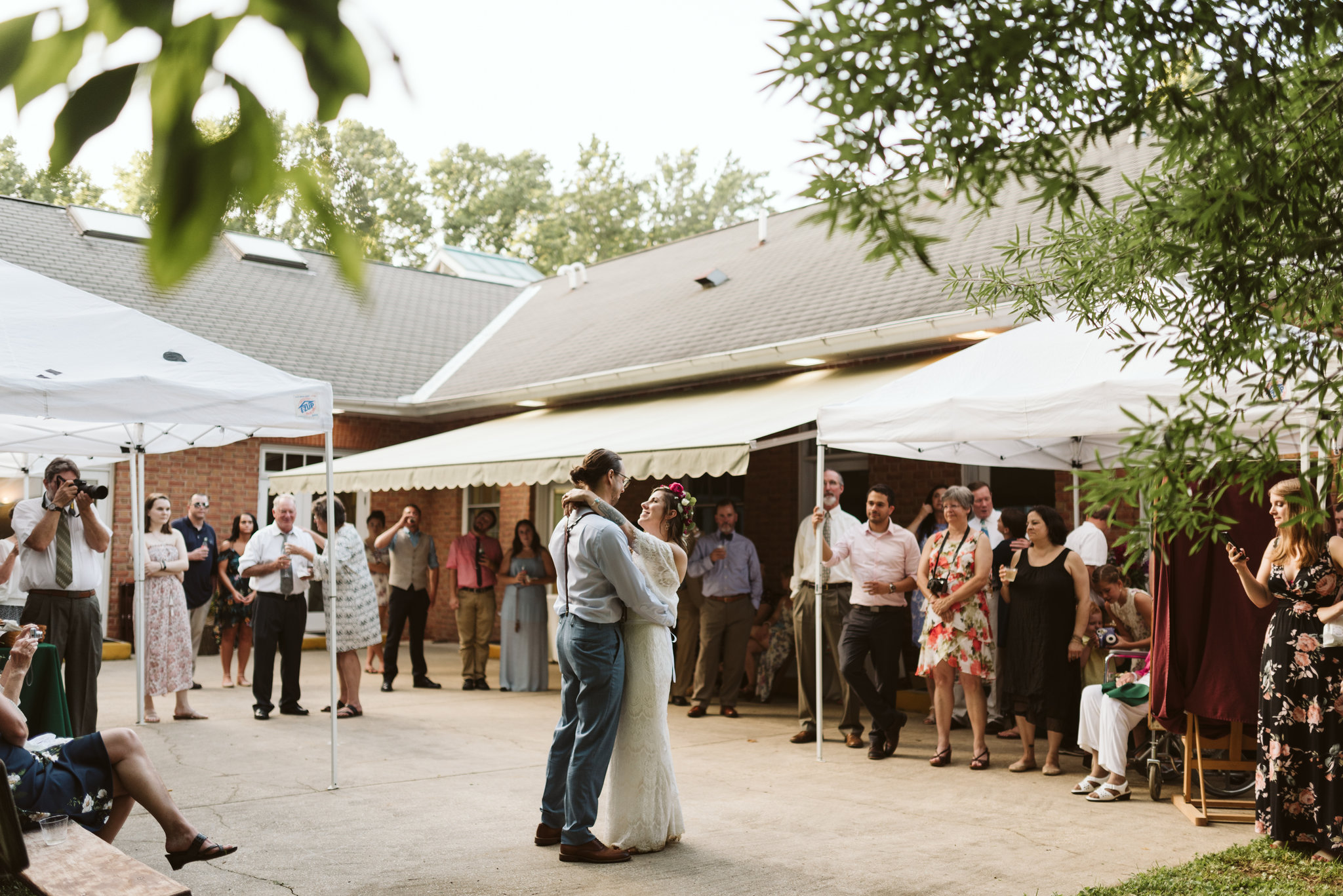 Annapolis, Quaker Wedding, Maryland Wedding Photographer, Intimate, Small Wedding, Vintage, DIY, Bride and Groom Have First Dance Outside, Guests Watch First Dance