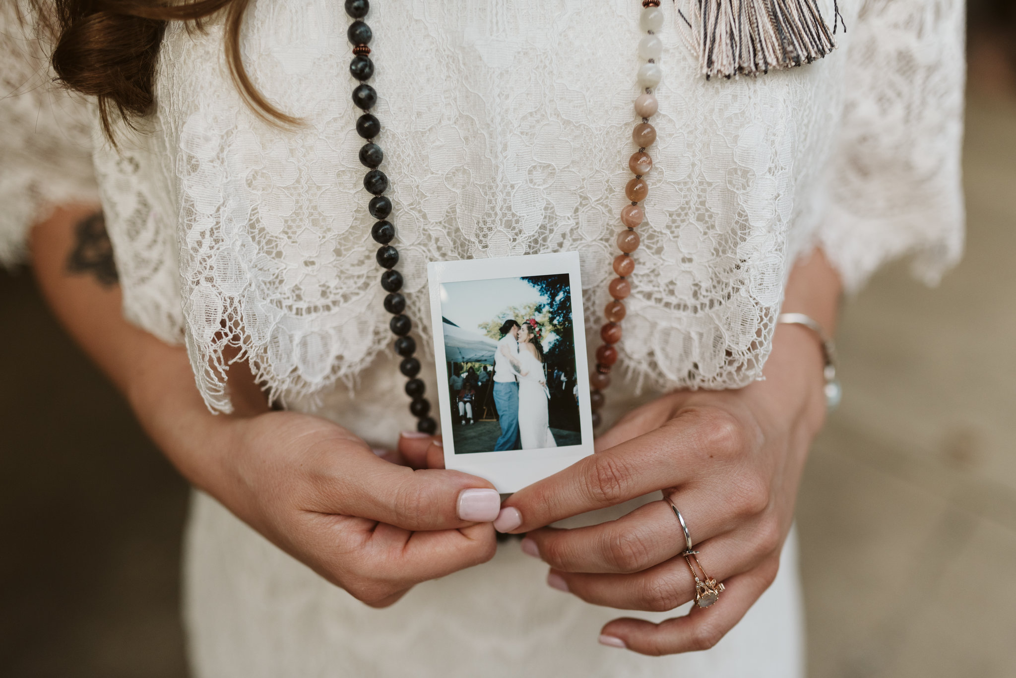 Annapolis, Quaker Wedding, Maryland Wedding Photographer, Intimate, Small Wedding, Vintage, DIY, Bride Holding Polaroid, First Dance, Sweet photo