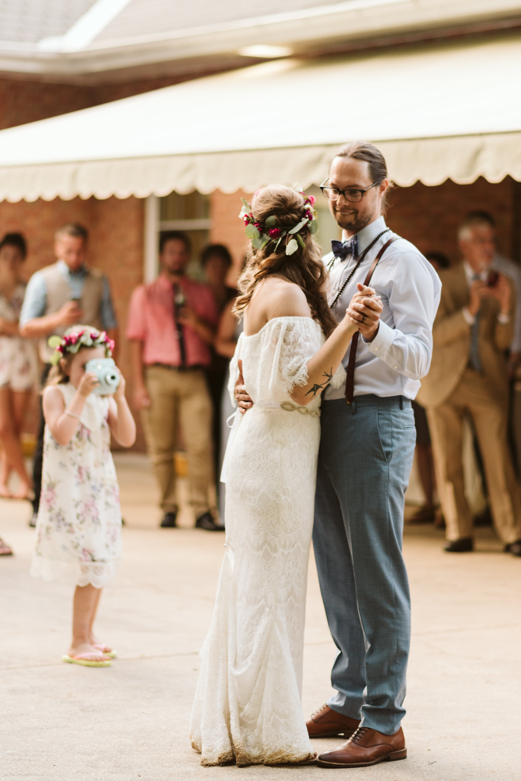 Annapolis, Quaker Wedding, Maryland Wedding Photographer, Intimate, Small Wedding, Vintage, DIY, Bride and Groom First Dance, Child with Polaroid
