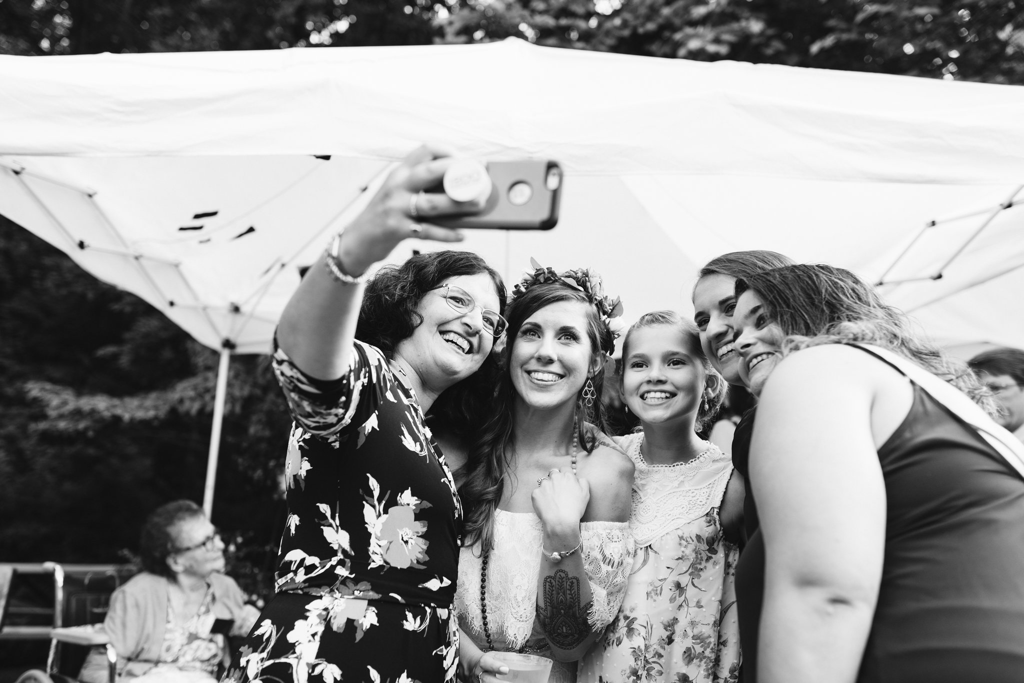 Annapolis, Quaker Wedding, Maryland Wedding Photographer, Intimate, Small Wedding, Vintage, DIY, Bride Taking Selfie with Family, Black and White Photo
