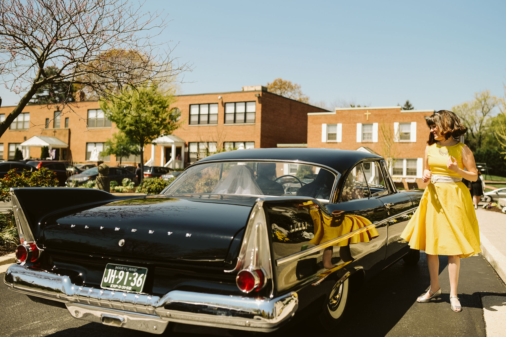 Baltimore, Church Wedding, Maryland Wedding Photographer, Vintage, Classic Car, 50s