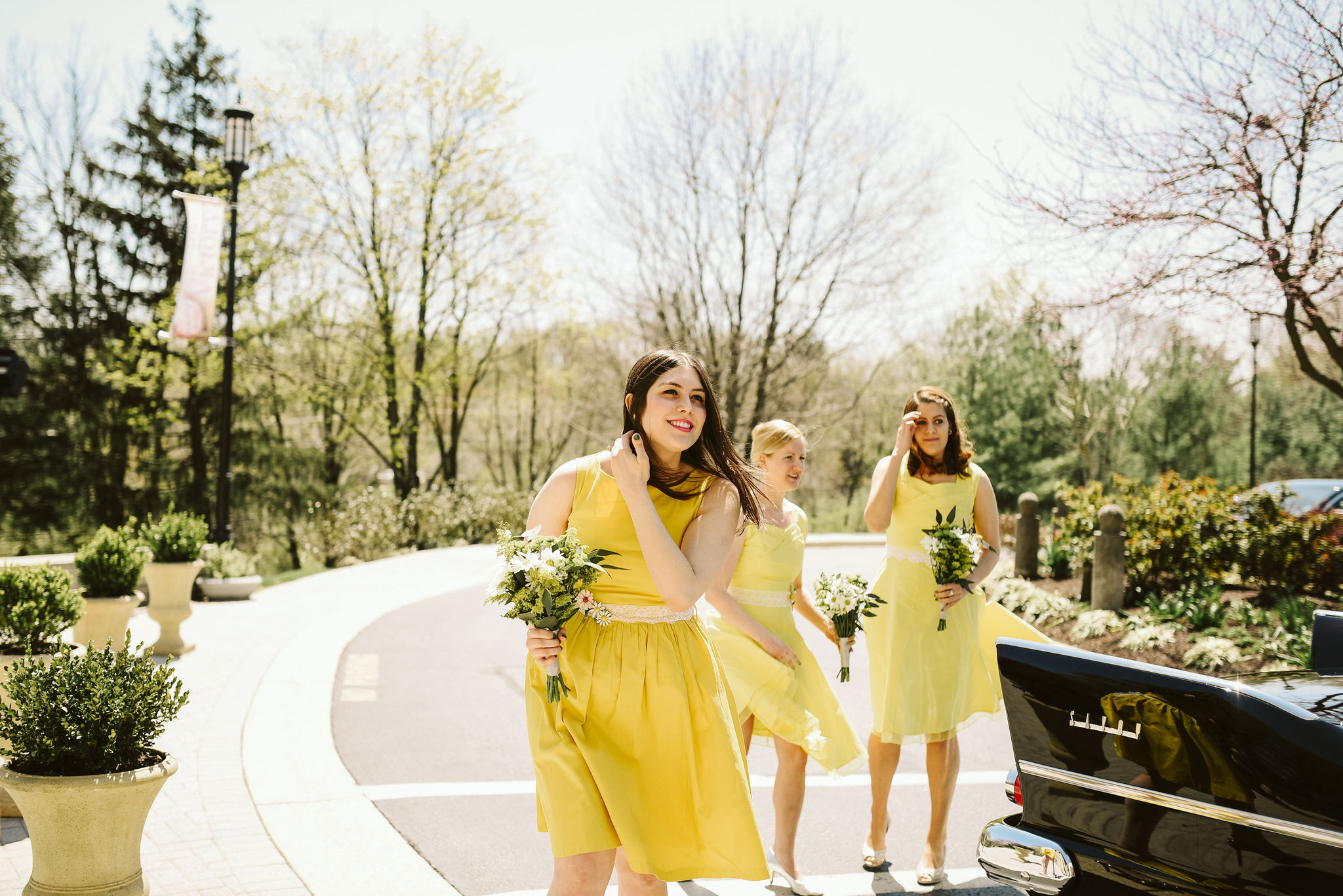 Baltimore, Church Wedding, Maryland Wedding Photographer, Vintage, Classic, Yellow Bridesmaids Dresses, Getting to the Church
