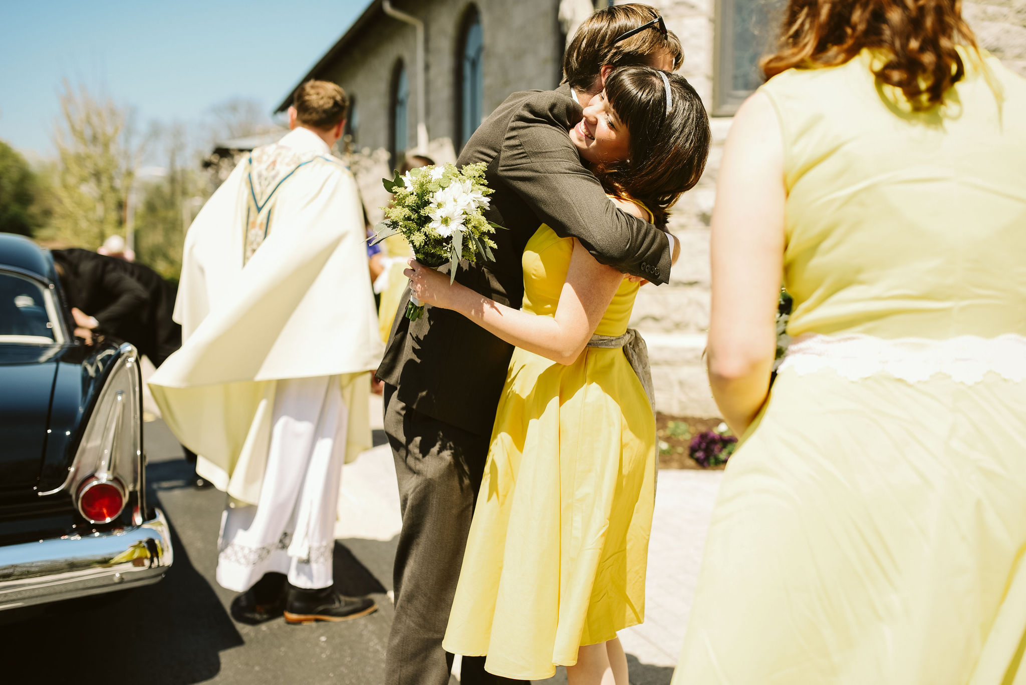 Baltimore, Church Wedding, Maryland Wedding Photographer, Vintage, Classic, Yellow Dresses, Bridesmaids