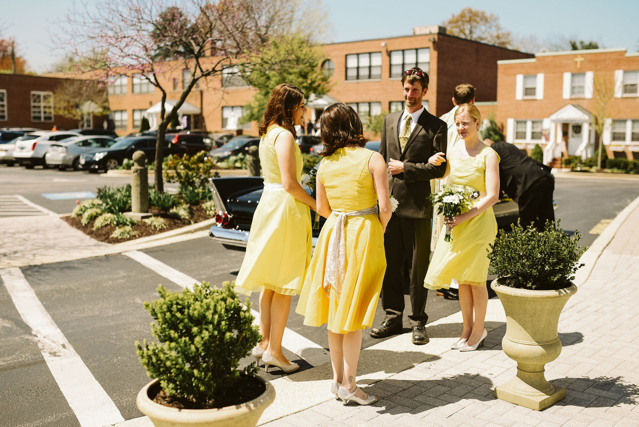 Baltimore, Church Wedding, Maryland Wedding Photographer, Vintage, Classic, Arriving at the Church, Yellow Bridesmaids Dresses