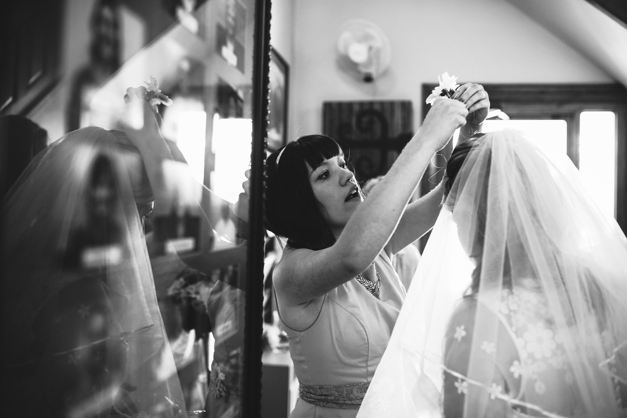 Baltimore, Church Wedding, Maryland Wedding Photographer, Vintage, Classic, Bride with Bridesmaid, Finishing Touches, Black and White Photo