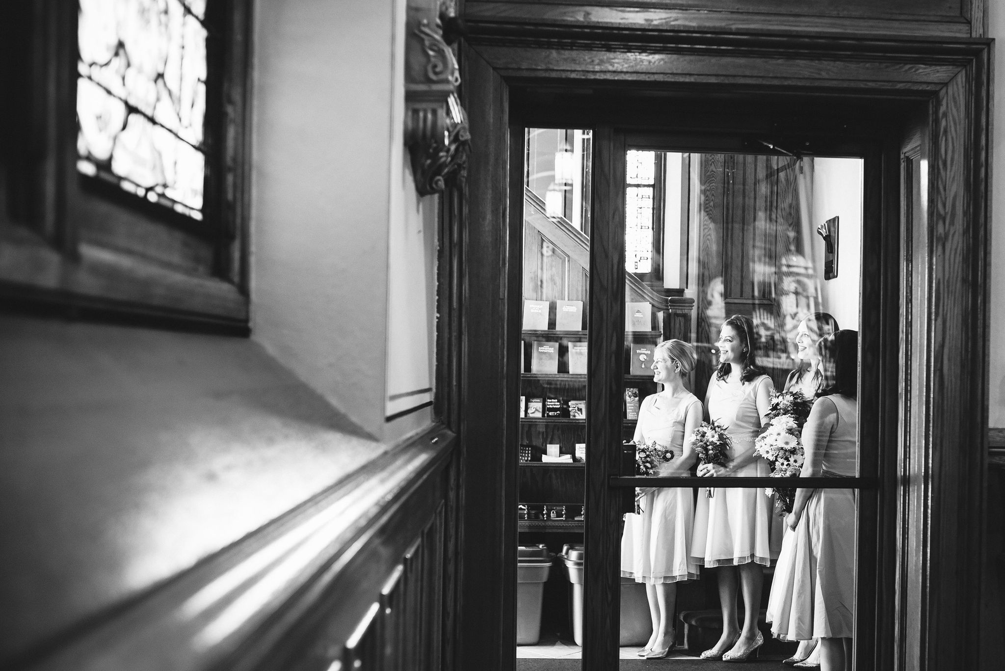 Baltimore, Church Wedding, Maryland Wedding Photographer, Vintage, Classic, Bridesmaids Waiting to Walk Down Aisle, Black and White Photo, Candid Photo