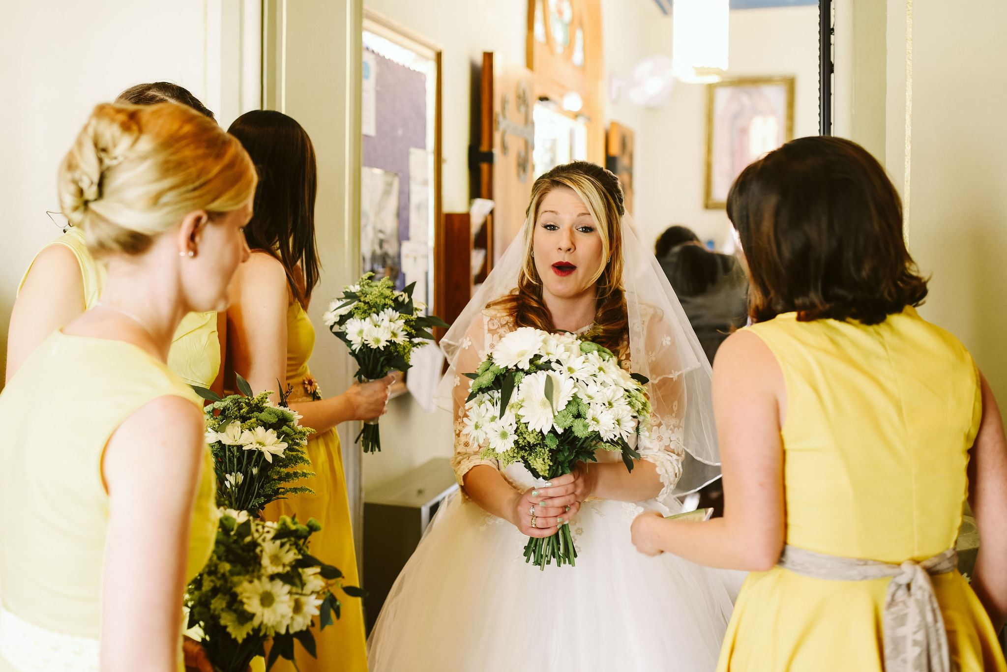 Baltimore, Church Wedding, Maryland Wedding Photographer, Vintage, Classic, Bride Getting Ready with Bridesmaids, Cute Photo, Lace Wedding Dress