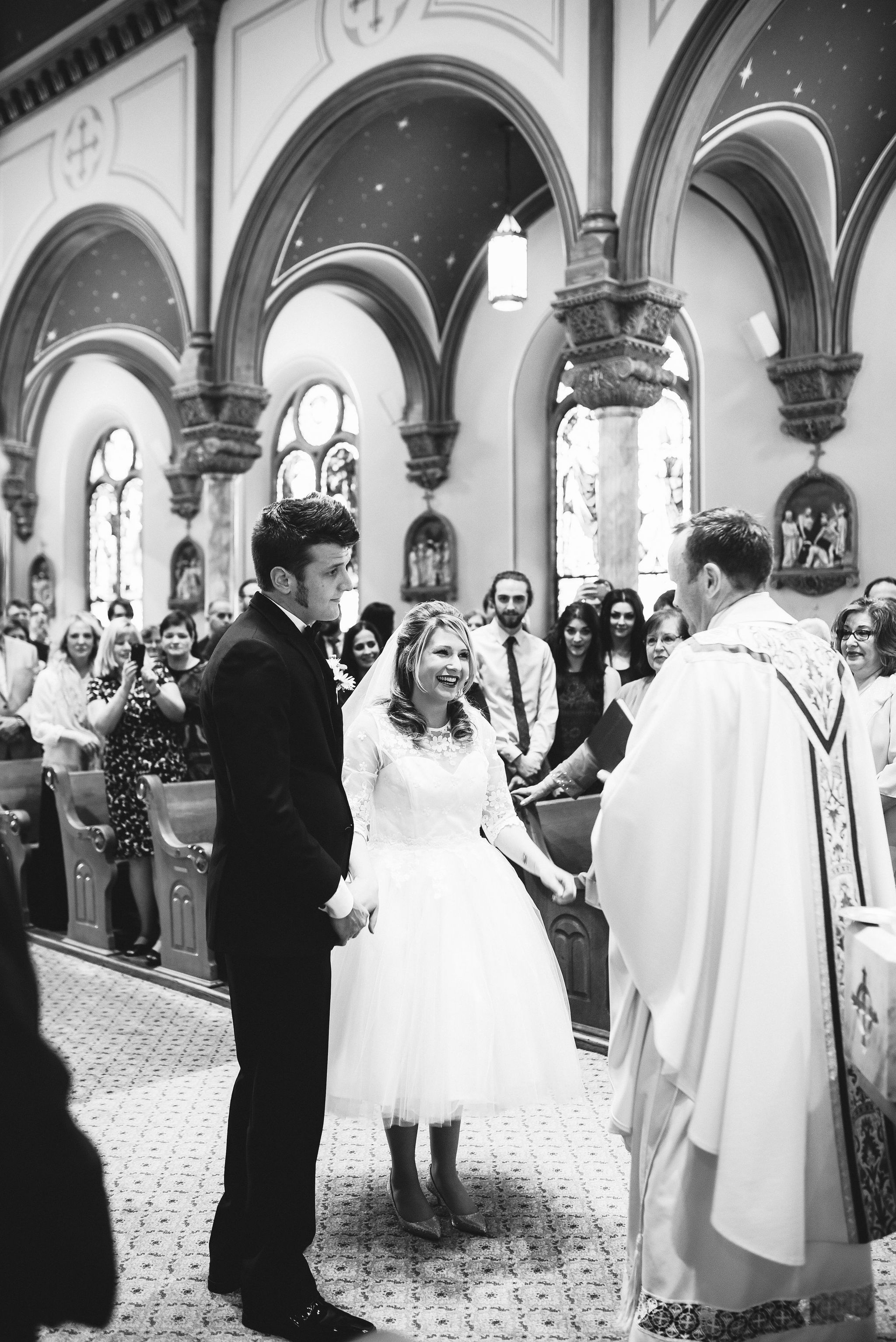 Baltimore, Church Wedding, Maryland Wedding Photographer, Vintage, Classic, 50s Style, Bride and Groom Standing Together, Black and White Photo