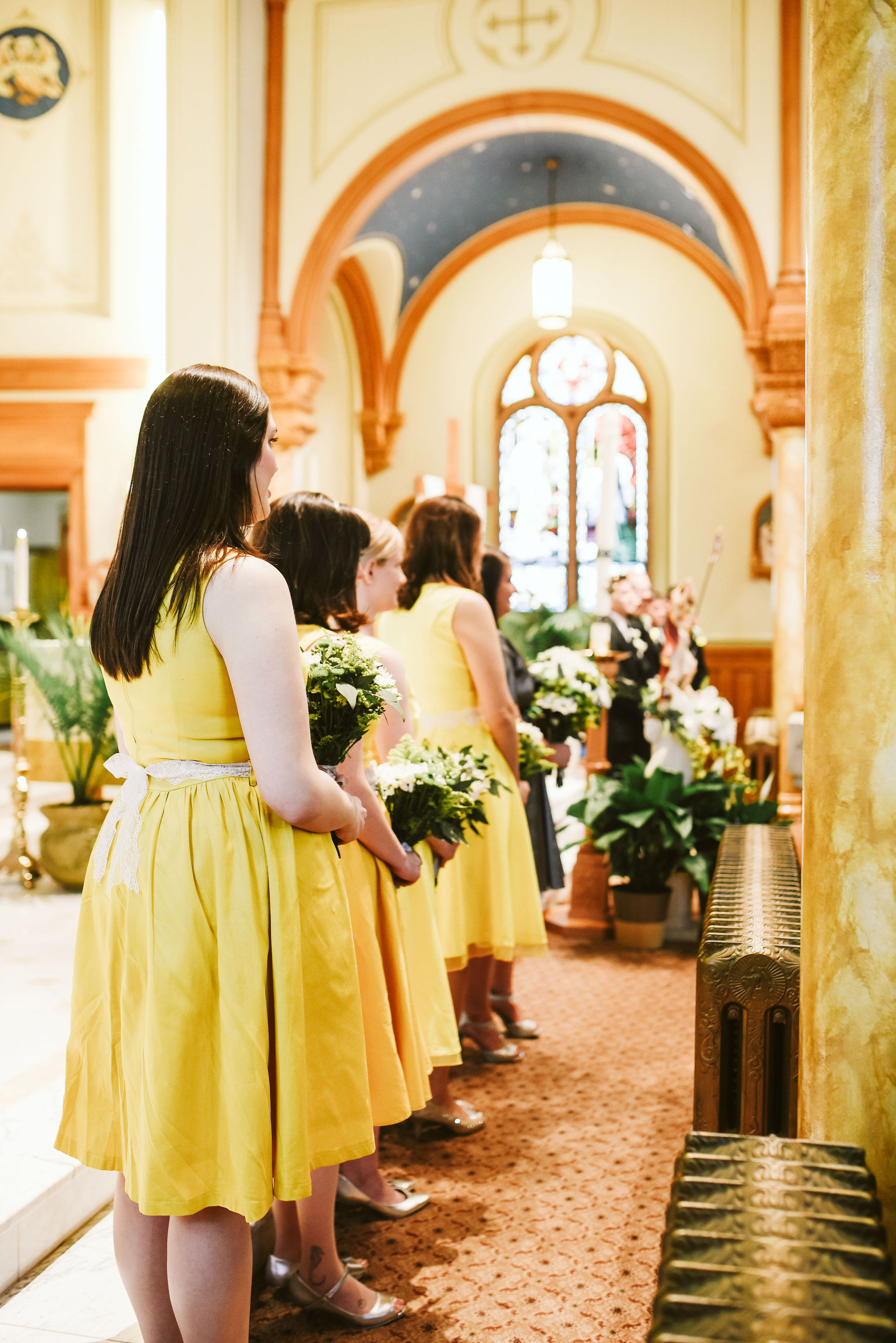 Baltimore, Church Wedding, Maryland Wedding Photographer, Vintage, Classic, Bridesmaids Standing during Ceremony, Yellow Bridesmaids Dresses