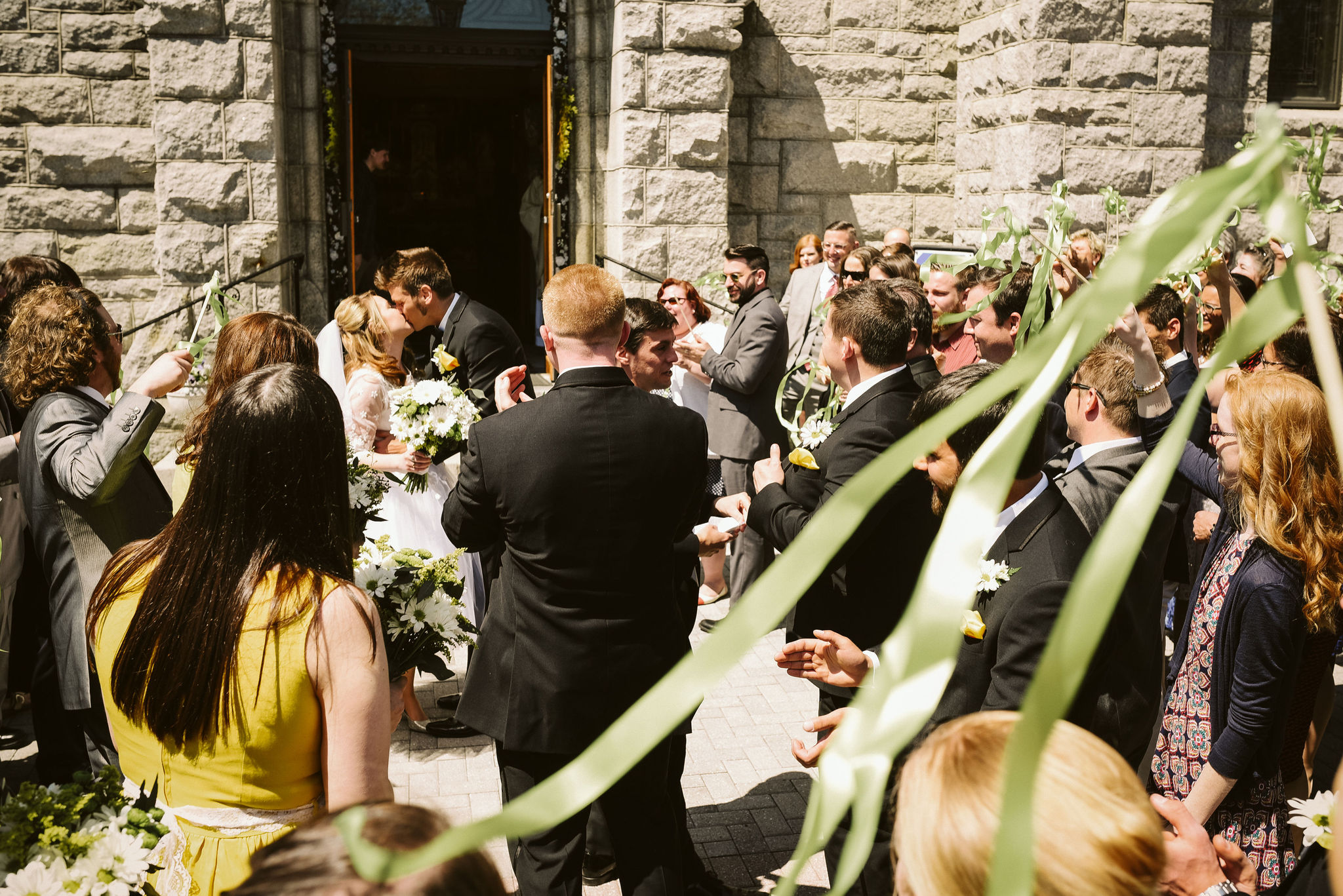 Baltimore, Church Wedding, Maryland Wedding Photographer, Vintage, Classic, Bride and Groom Kissing Outside Church, Wedding Guests Gathered Around Bride and Groom