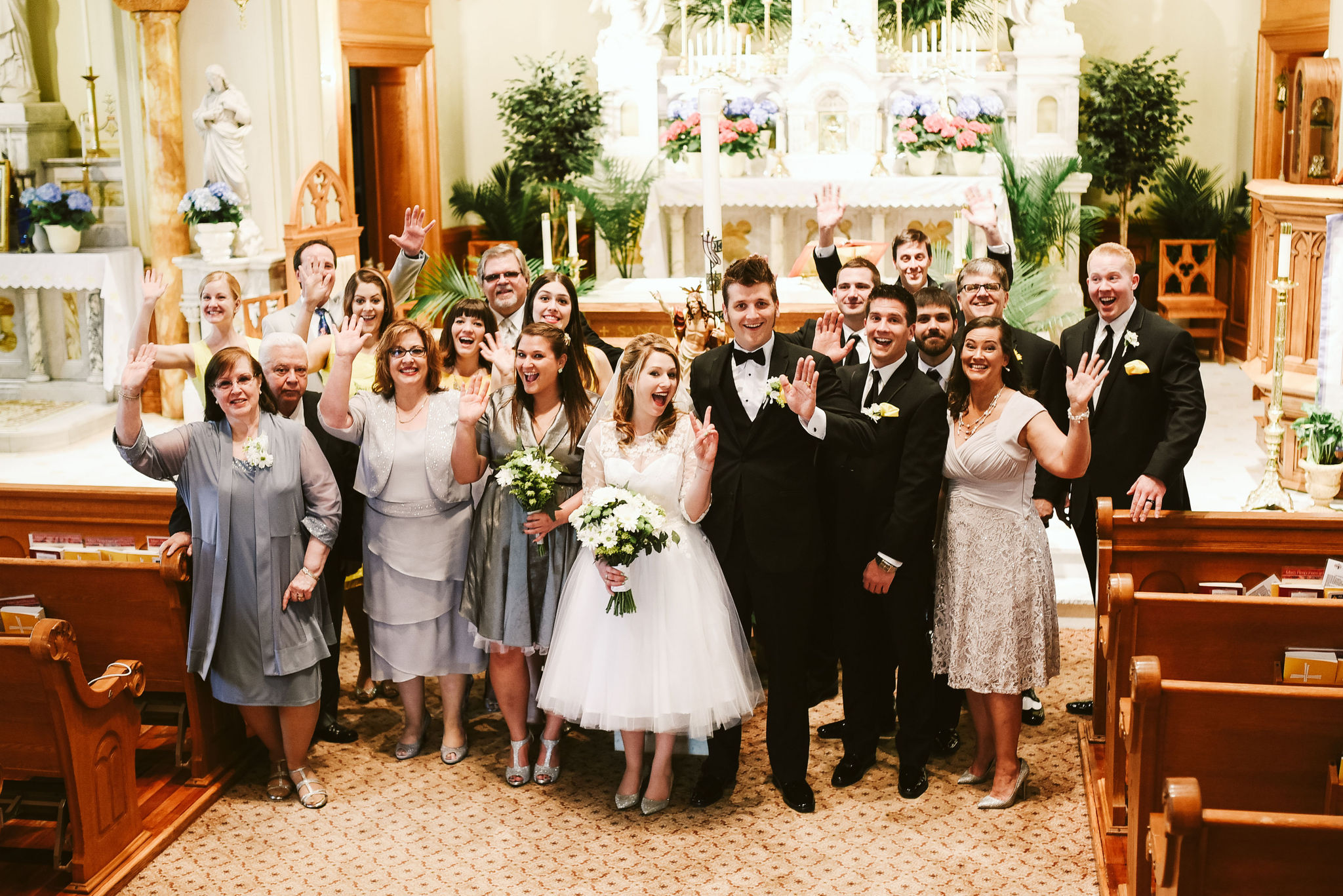 Baltimore, Church Wedding, Maryland Wedding Photographer, Vintage, Classic, 50s Style, Tea-length Wedding Dress, Group Photo, Bride and Groom Portrait with Friends and Family