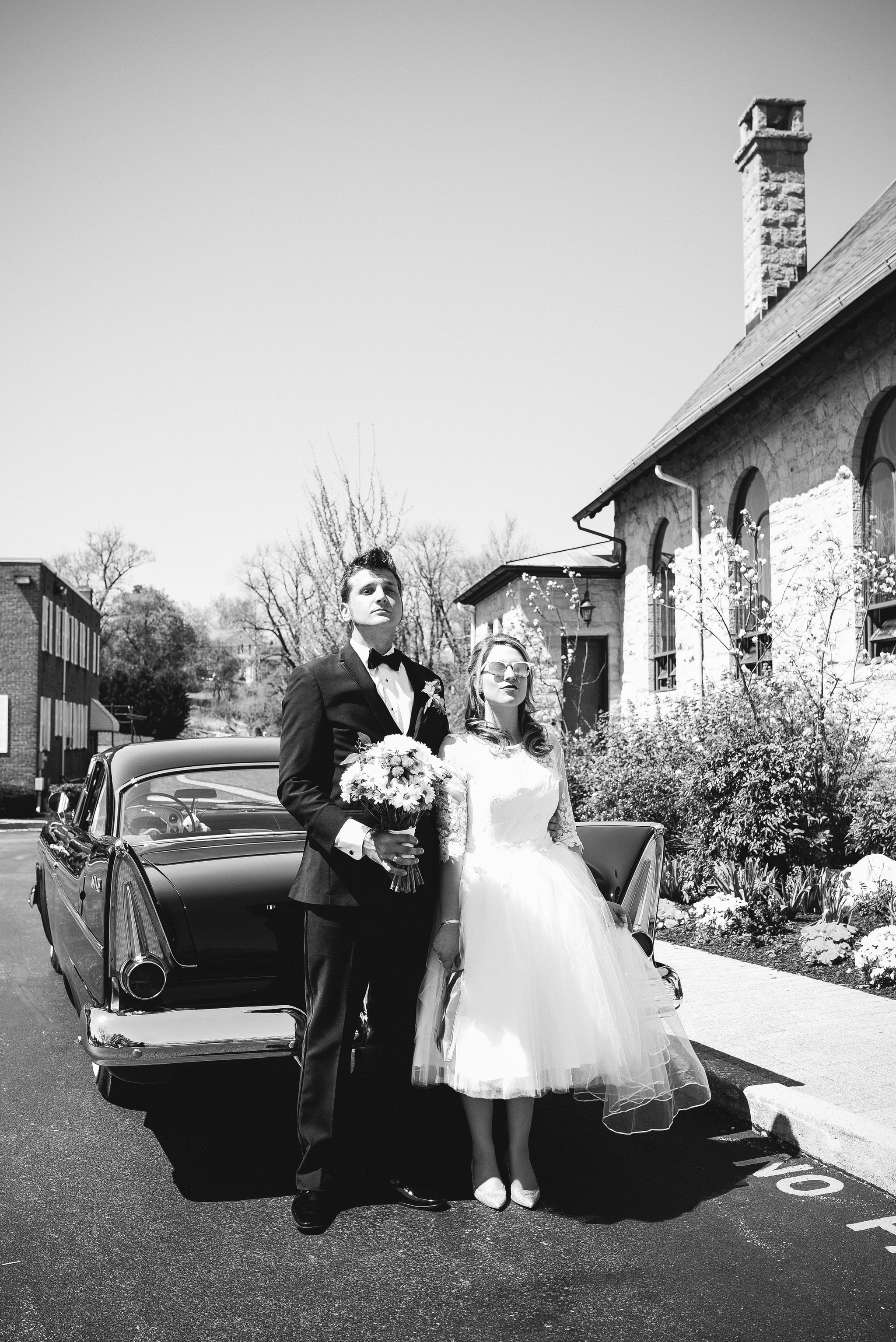 Baltimore, Church Wedding, Maryland Wedding Photographer, Vintage, Classic, 50s Style, Bride and Groom Posing Outside, Fun Photo, Black and White
