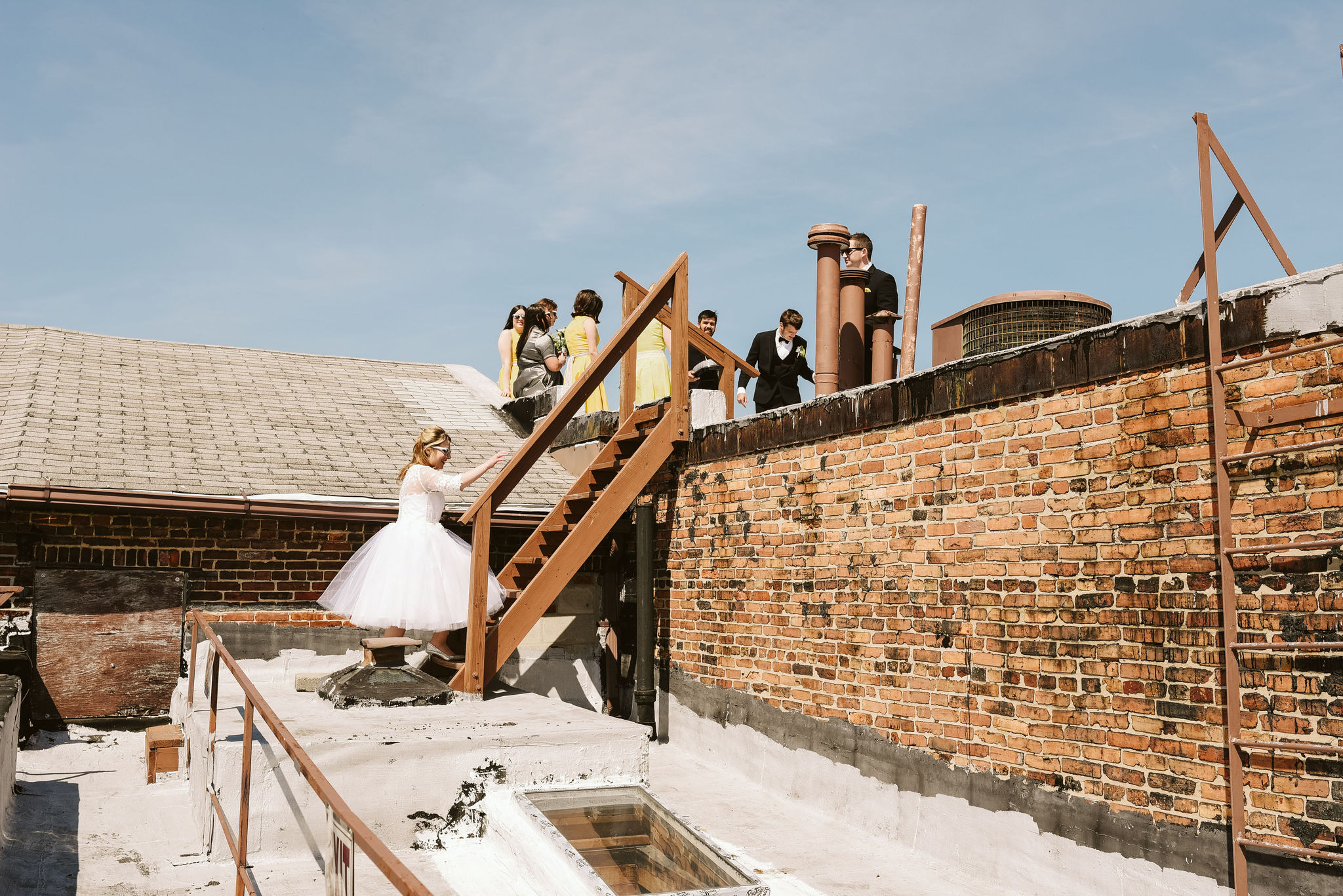 Baltimore, Church Wedding, Maryland Wedding Photographer, Vintage, Classic, 50s Style, Bride and Groom on Rooftop, Bridesmaids on Rooftop