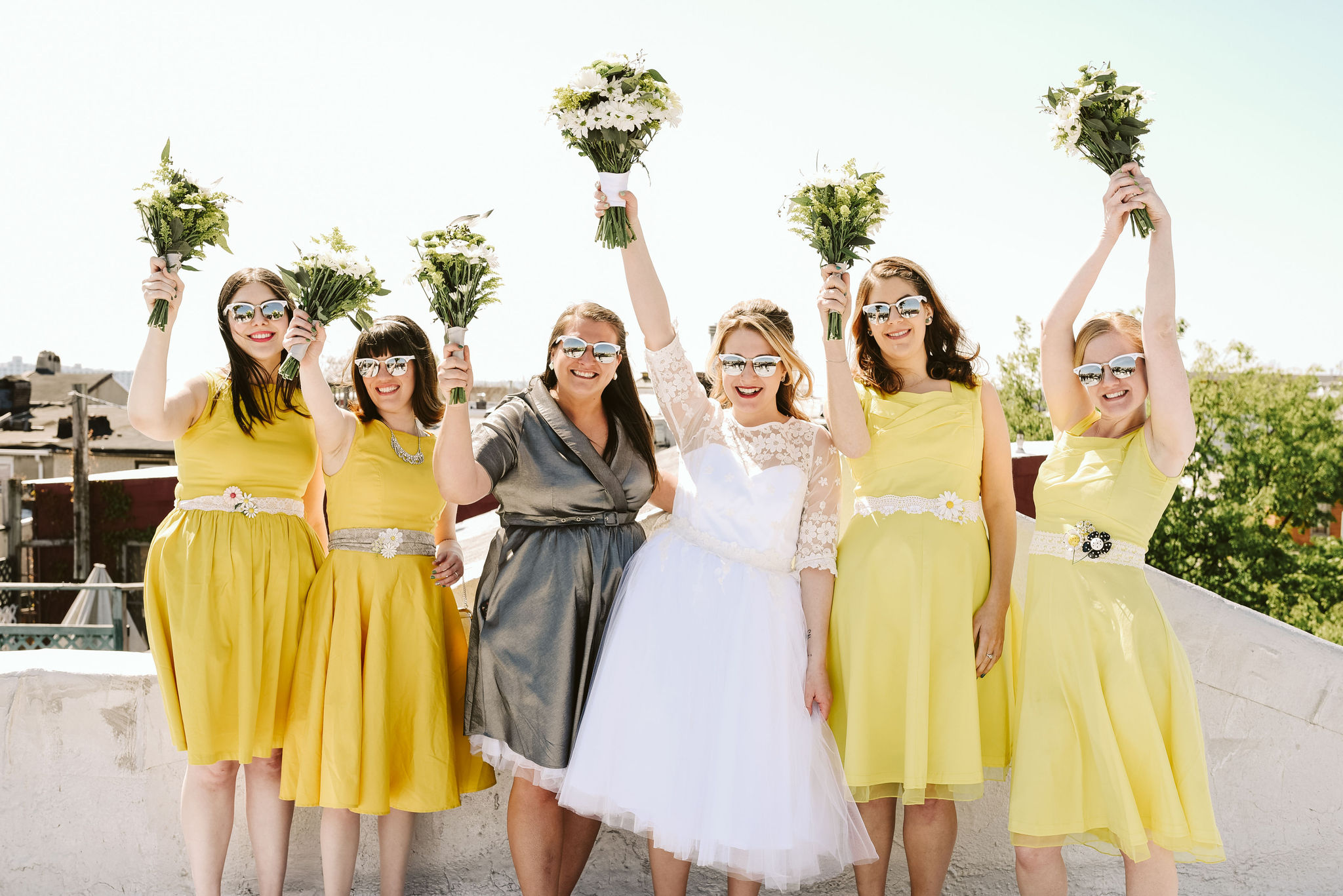 Baltimore, Church Wedding, Maryland Wedding Photographer, Vintage, Classic, 50s Style, Bride with Bridesmaids, White Daisies, White Sunglasses