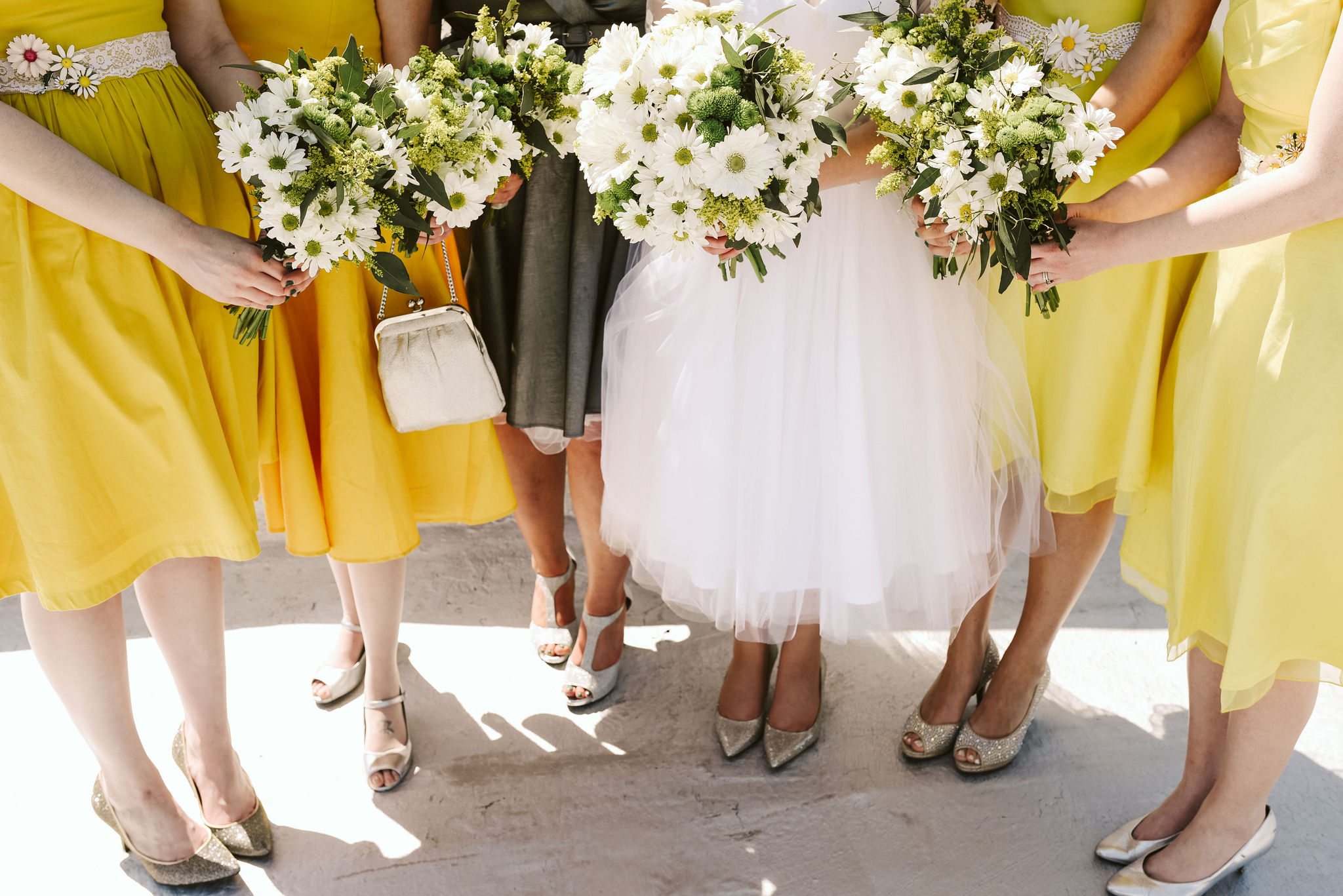 Baltimore, Church Wedding, Maryland Wedding Photographer, Vintage, Classic, Bride with Bridesmaids, Portrait Photo, White Daisies, Glitter Heels, Yellow Bridesmaids Dresses