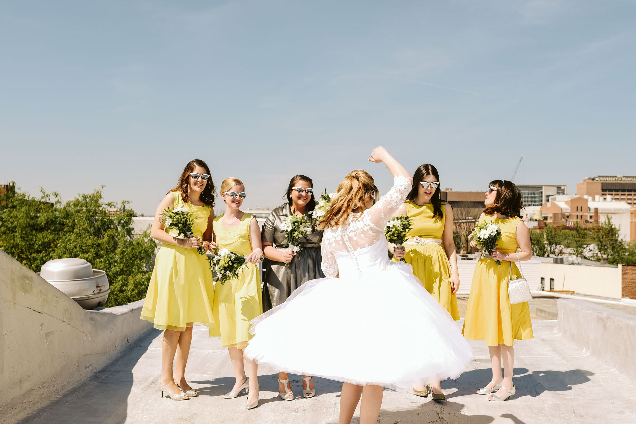 Baltimore, Church Wedding, Maryland Wedding Photographer, Vintage, Classic, 50s Style, Bride Twirling on Rooftop, Bride with Bridesmaids on Sunny Day