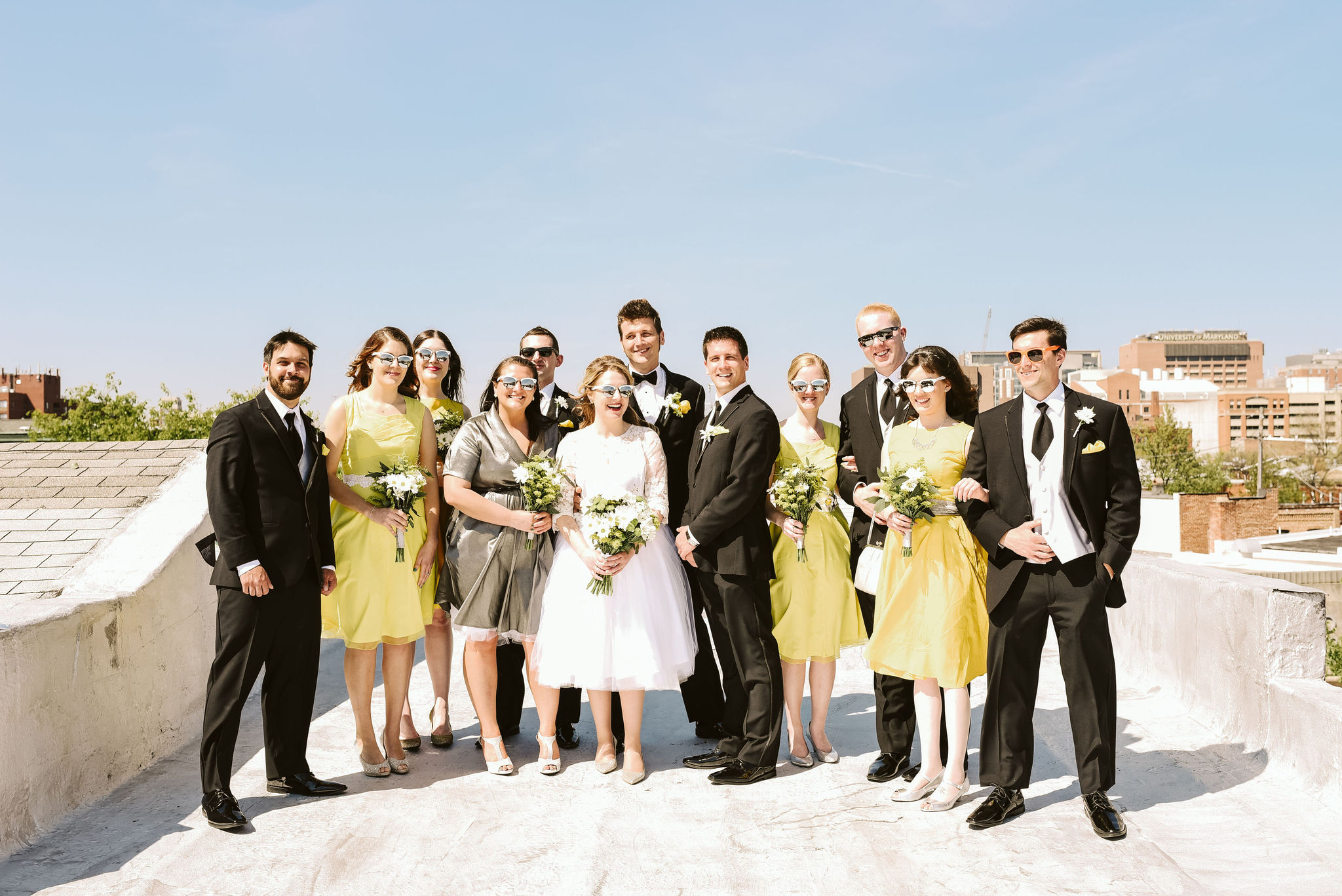 Baltimore, Church Wedding, Maryland Wedding Photographer, Vintage, Classic, 50s Style, Bride and Groom with Bridesmaids and Groomsmen, Portrait Photo on Rooftop, Sunny Day