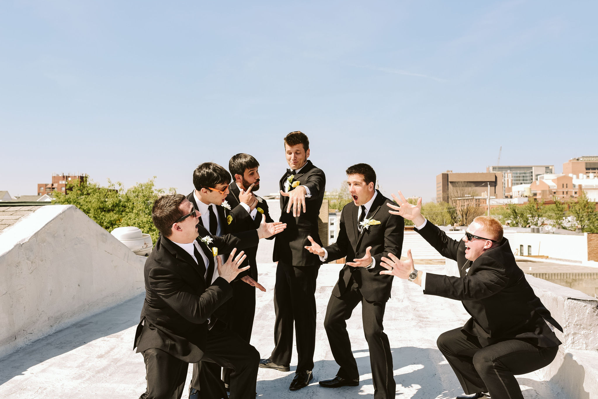 Baltimore, Church Wedding, Maryland Wedding Photographer, Vintage, Classic, 50s Style, Groom Showing Off Ring, Groom with Groomsmen, Fun Photo, Portrait