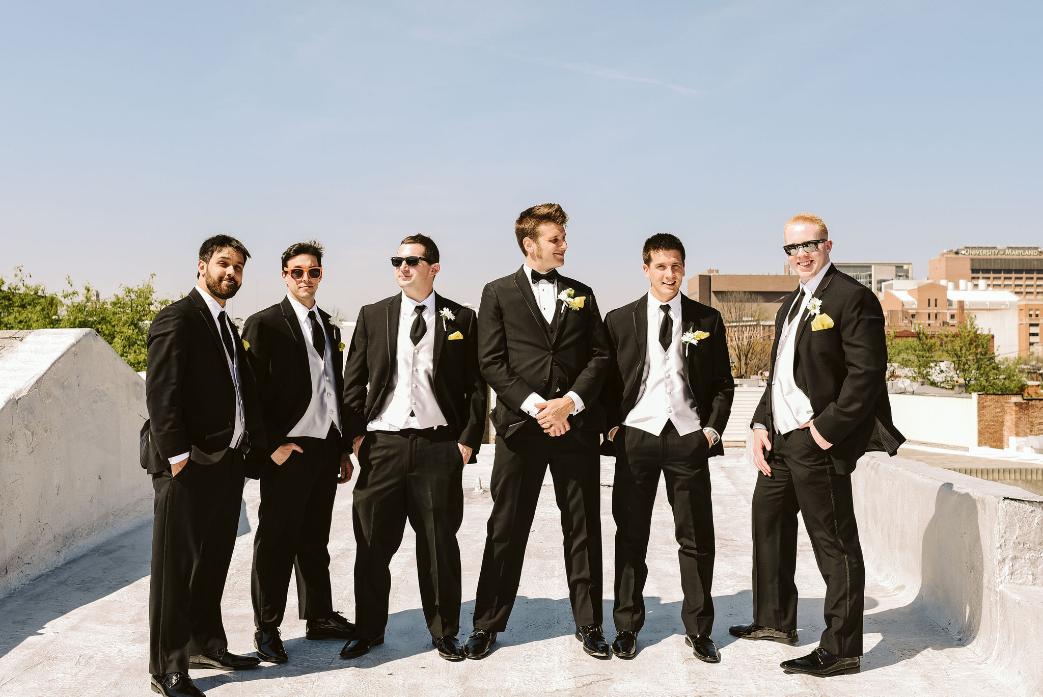Baltimore, Church Wedding, Maryland Wedding Photographer, Vintage, Classic, 50s Style, Groom with Groomsmen Portrait, Black Suits
