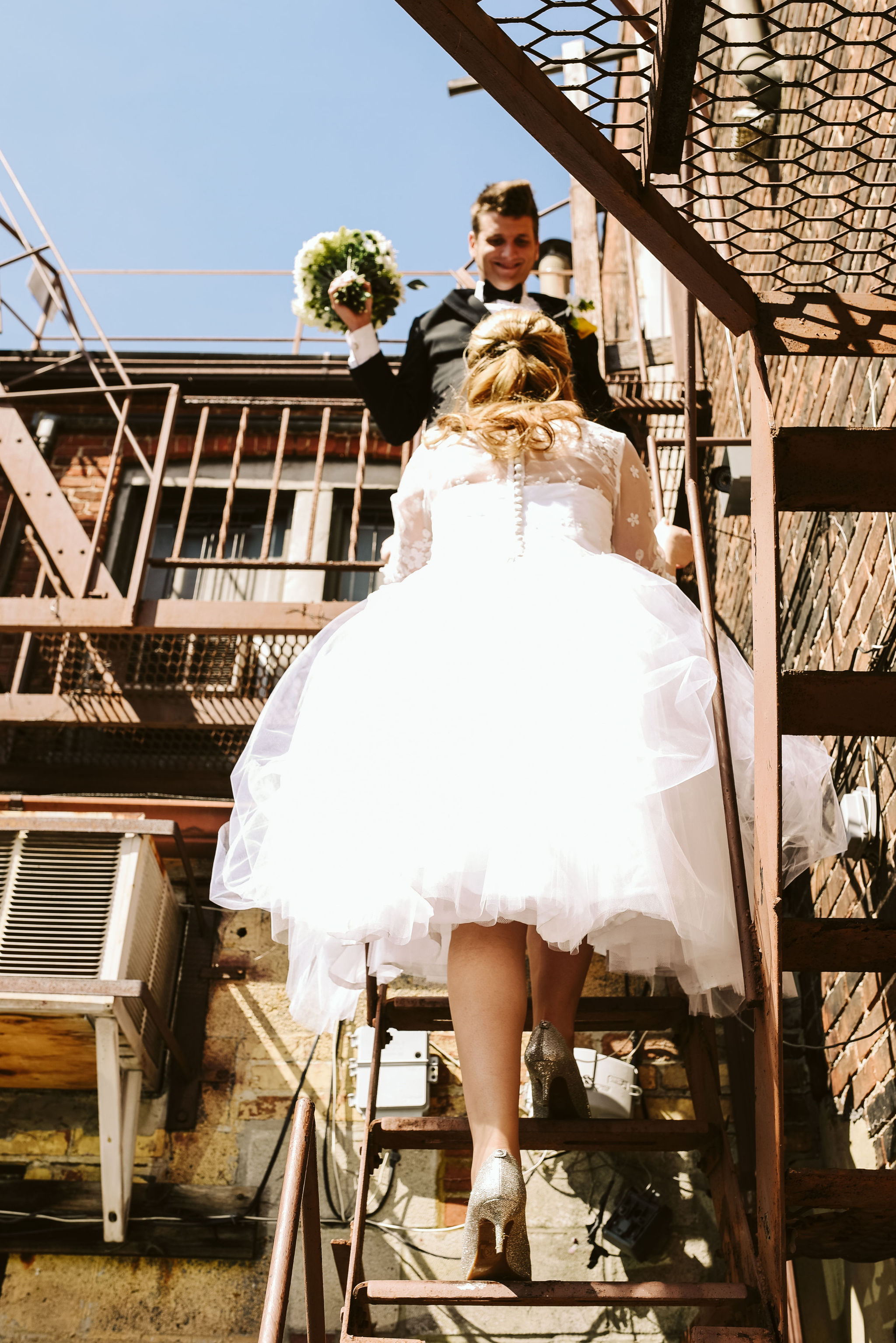Baltimore, Church Wedding, Maryland Wedding Photographer, Vintage, Classic, 50s Style, Bride and Groom on Fire Escape, Outdoor, Glitter Heels
