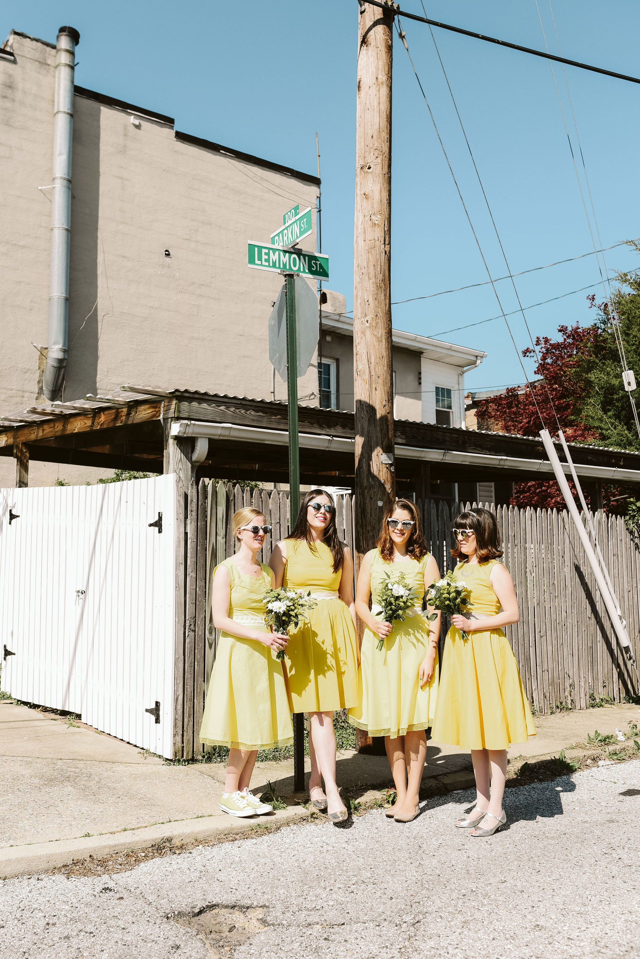 Baltimore, Church Wedding, Maryland Wedding Photographer, Vintage, Classic, 50s Style, Bridesmaid by Street Sign, Yellow Bridesmaid Dresses, Lemmon St, Baltimore City