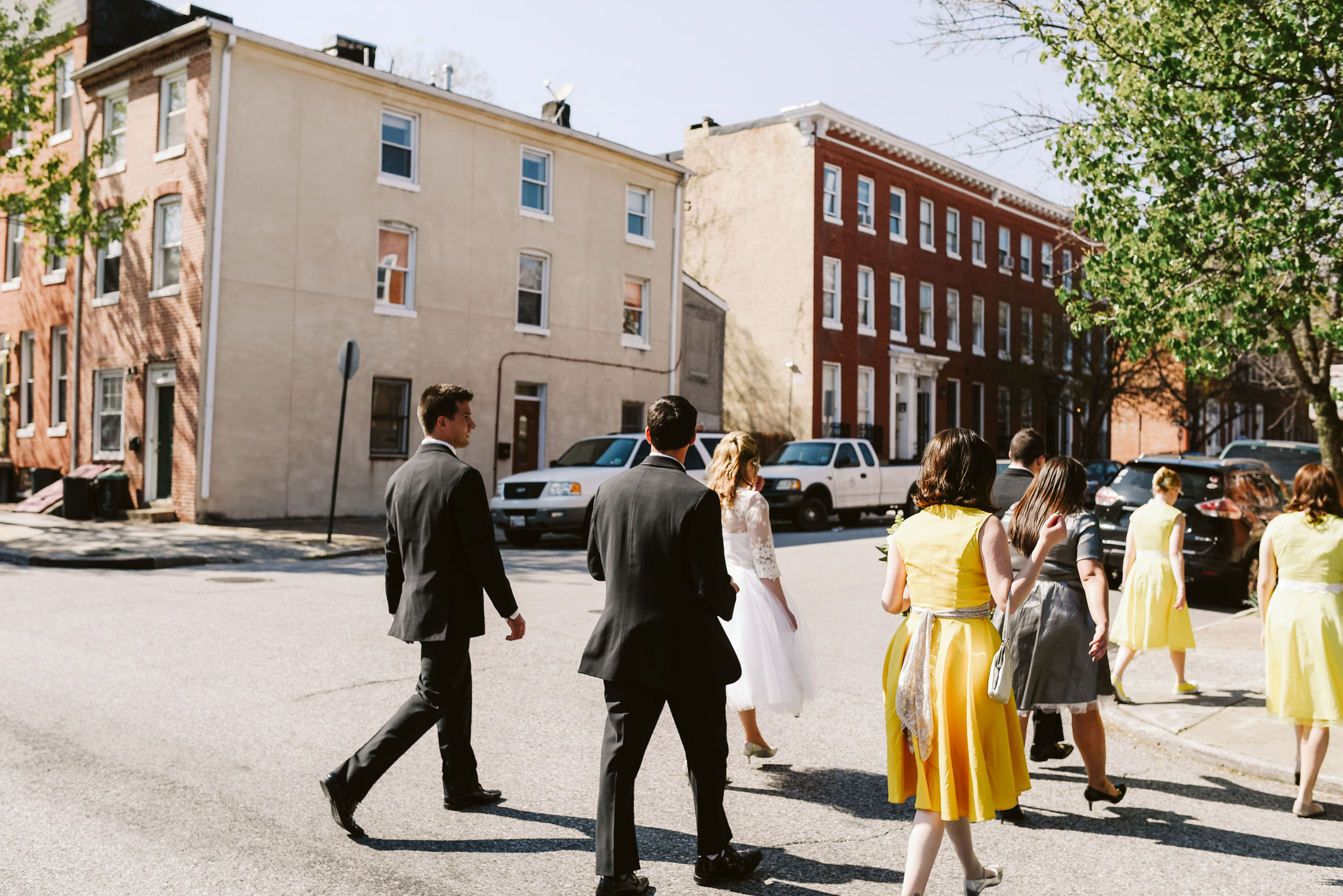 Baltimore, Church Wedding, Maryland Wedding Photographer, Vintage, Classic, 50s Style, Wedding Party Walking Downtown, Pigtown, Sunny Afternoon