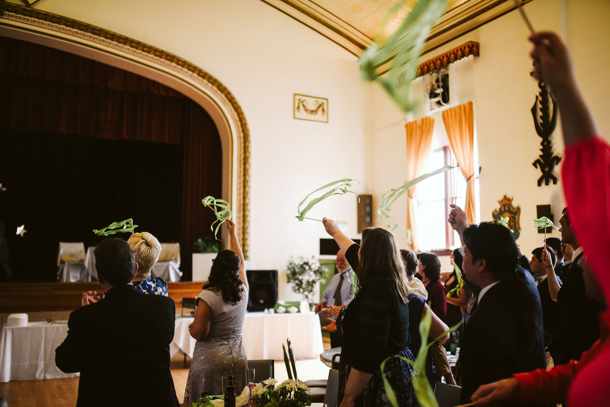 Baltimore, Lithuanian Dance Hall, Maryland Wedding Photographer, Vintage, Classic, 50s Style, Wedding Guests Waving Streamers