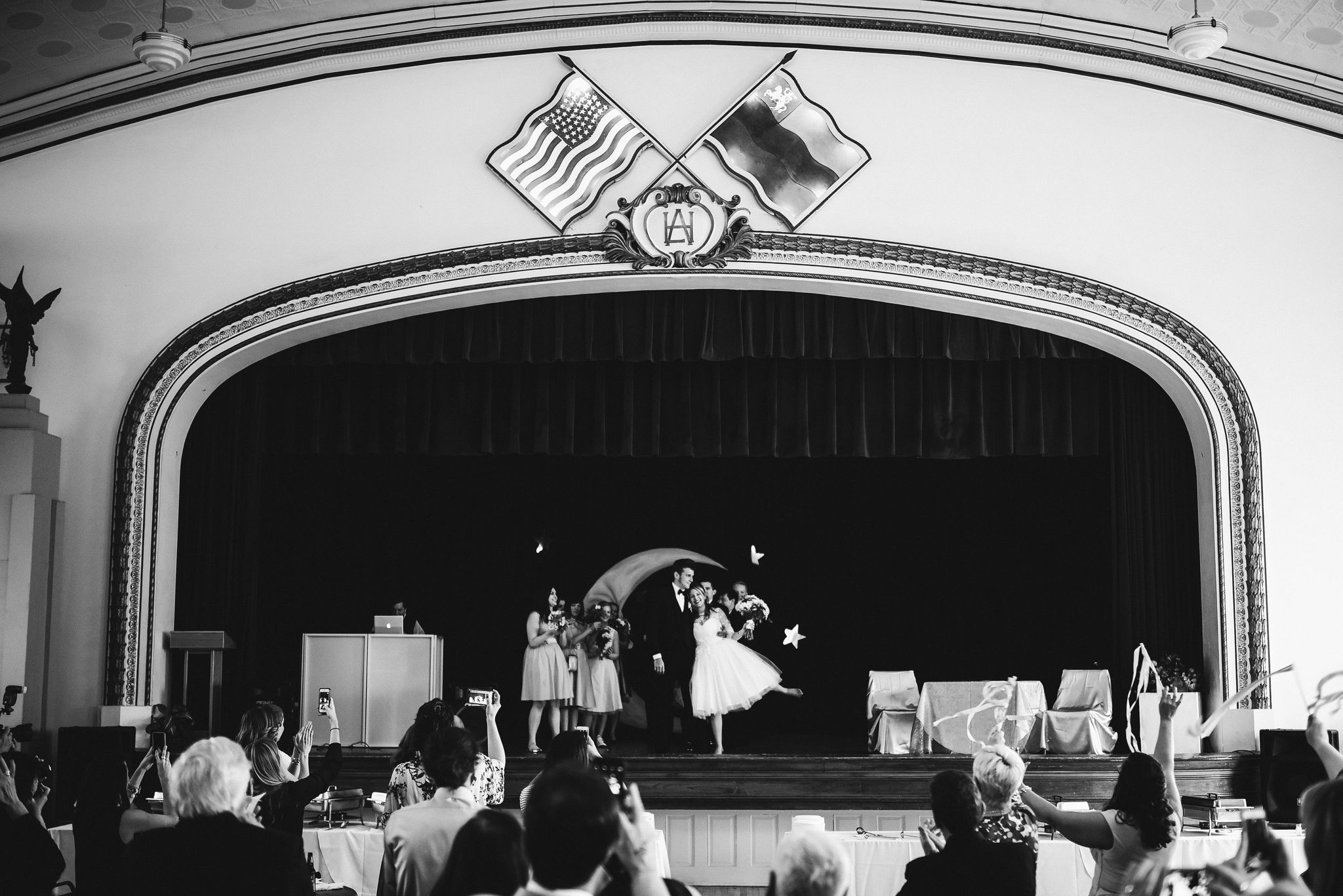 Baltimore, Lithuanian Dance Hall, Maryland Wedding Photographer, Vintage, Classic, 50s Style, Bride and Groom at Wedding Reception, On Stage, Black and White Photo