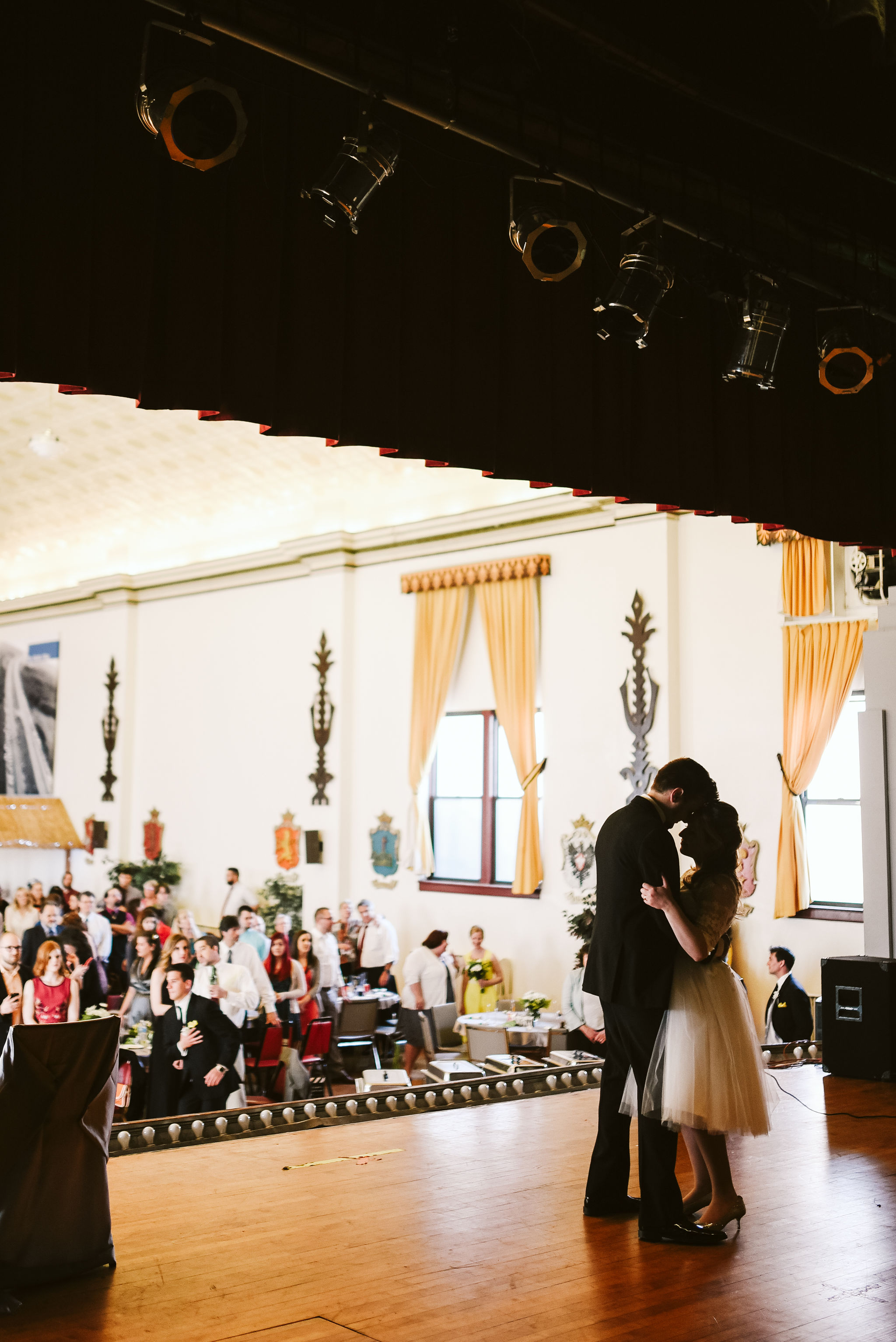 Baltimore, Lithuanian Dance Hall, Maryland Wedding Photographer, Vintage, Classic, 50s Style, Bride and Groom on Stage having Their First Dance, Guests Watching First Dance