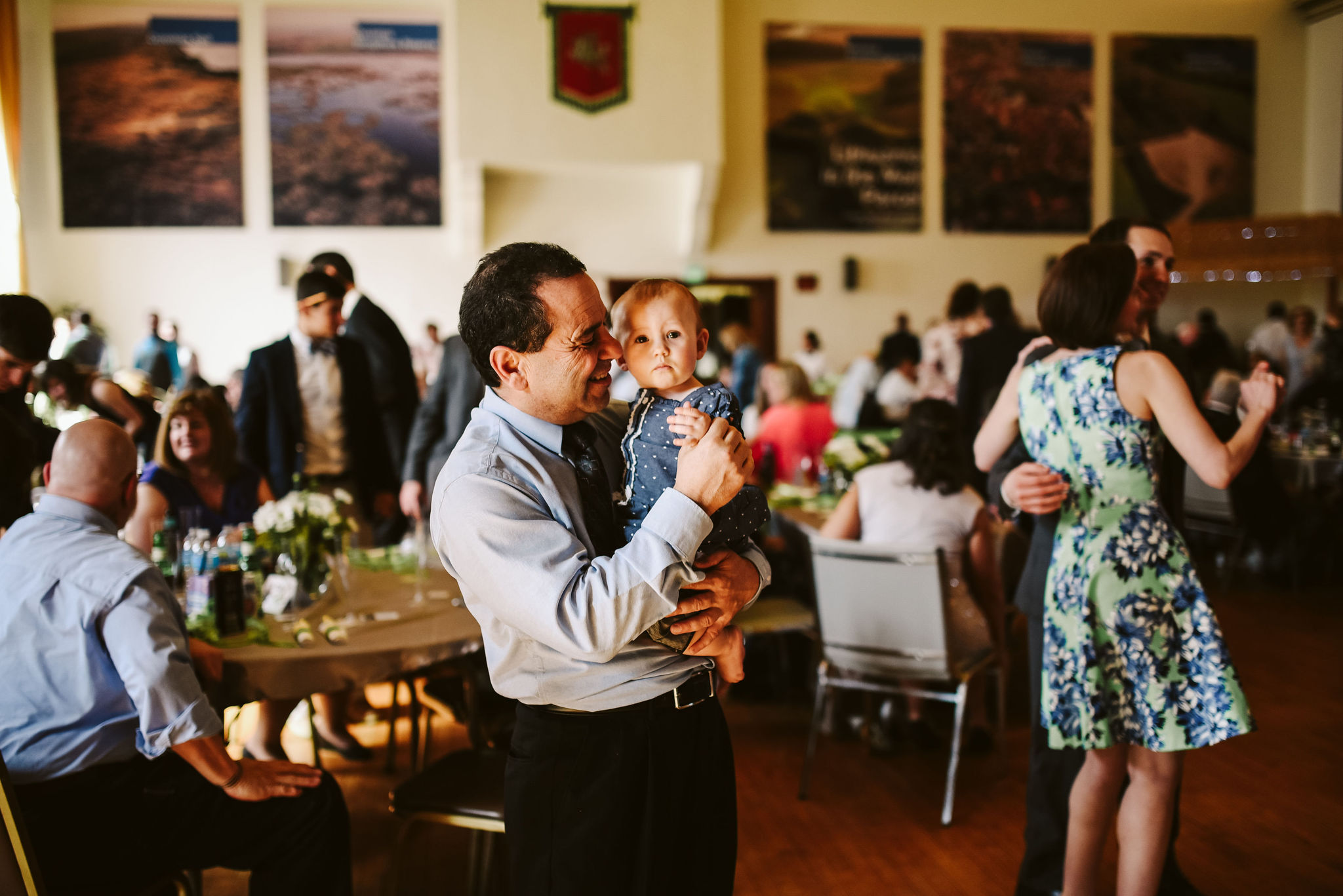 Baltimore, Lithuanian Dance Hall, Maryland Wedding Photographer, Vintage, Classic, 50s Style, Wedding Guest with Baby, Wedding Reception, Candid Photo