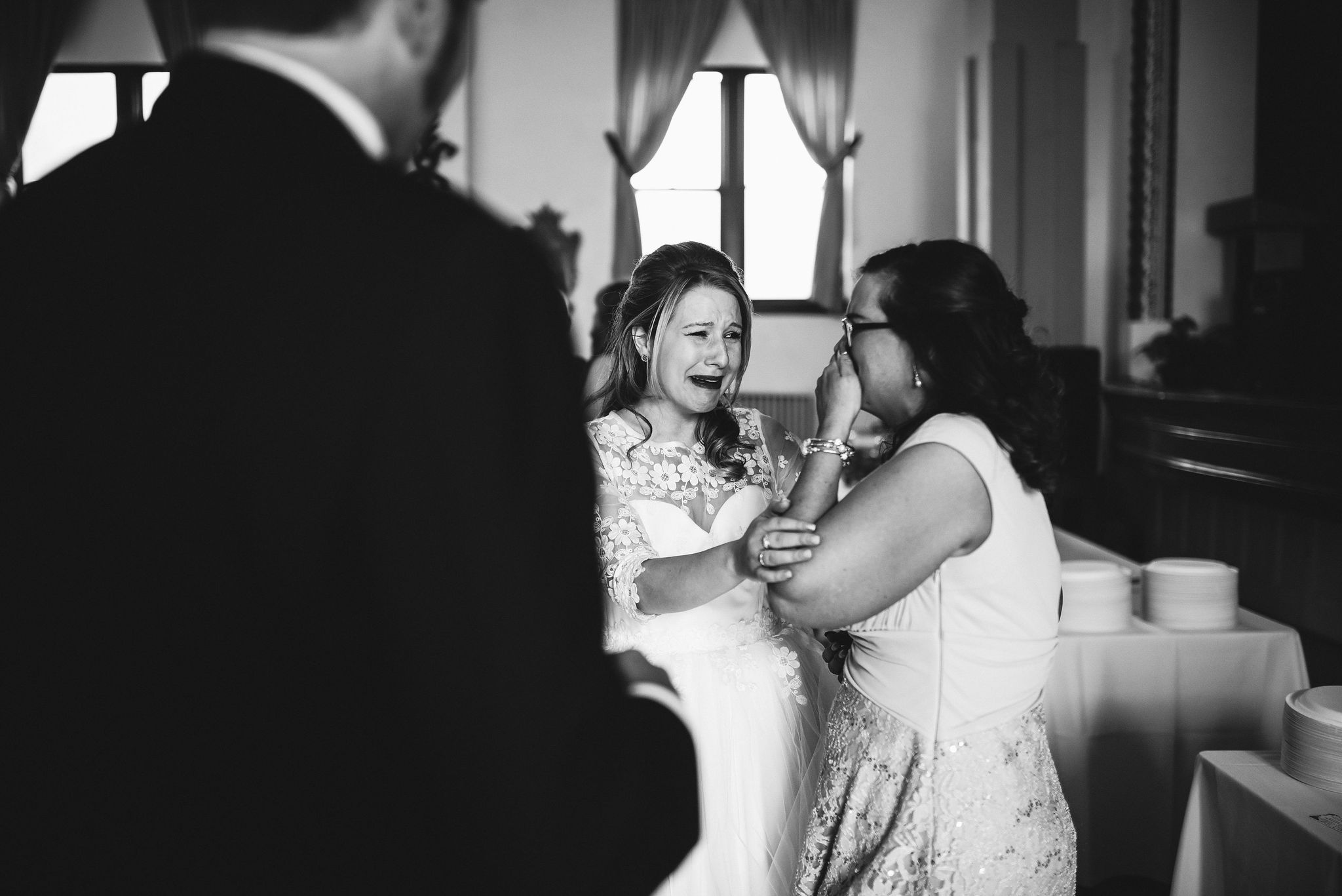 Baltimore, Lithuanian Dance Hall, Maryland Wedding Photographer, Vintage, Classic, 50s Style, Bride Laughing and Crying with Friends, Black and White Photo