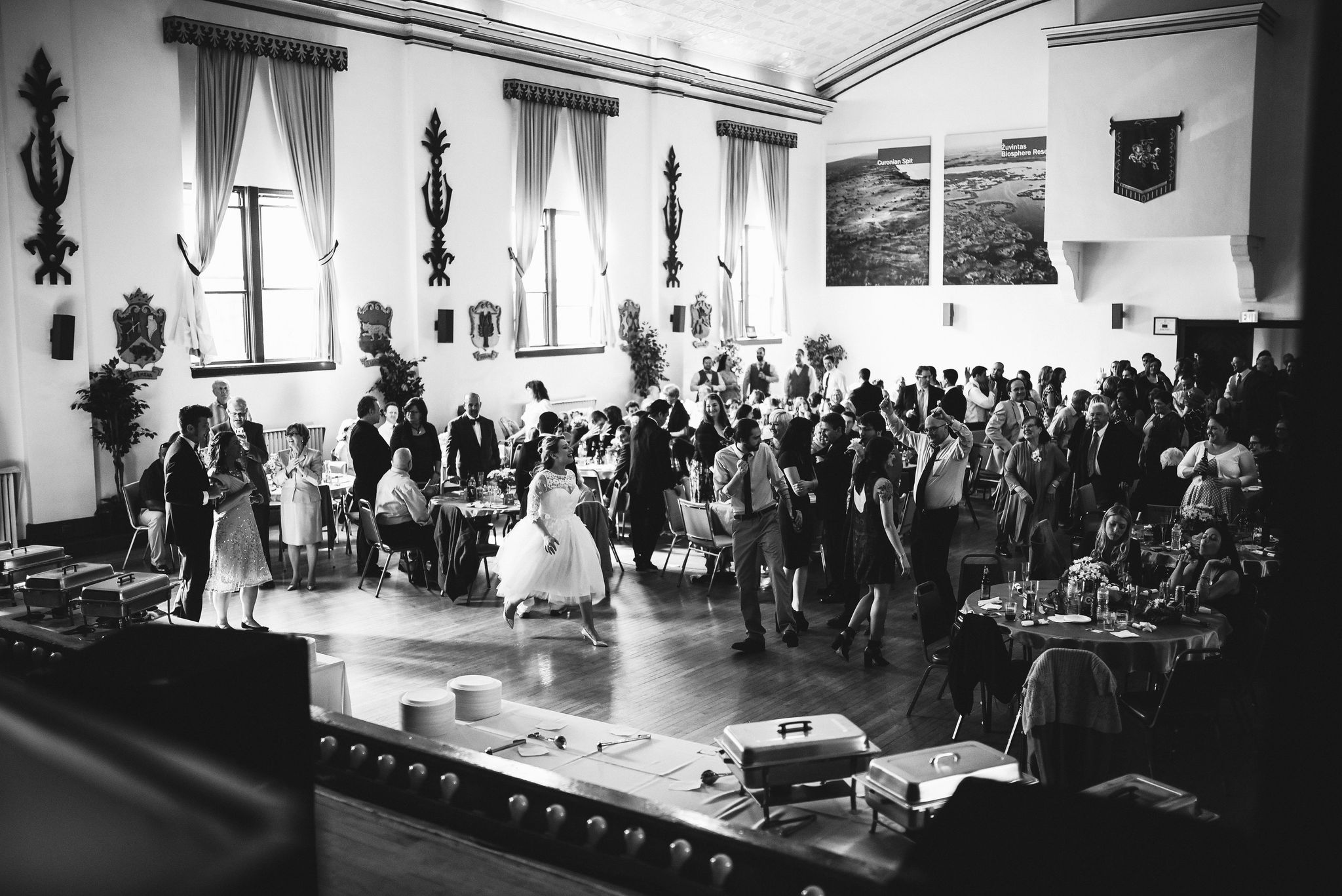 Baltimore, Lithuanian Dance Hall, Maryland Wedding Photographer, Vintage, Classic, 50s Style, Photo of Whole Reception, Black and White, Guests Having Fun at Reception