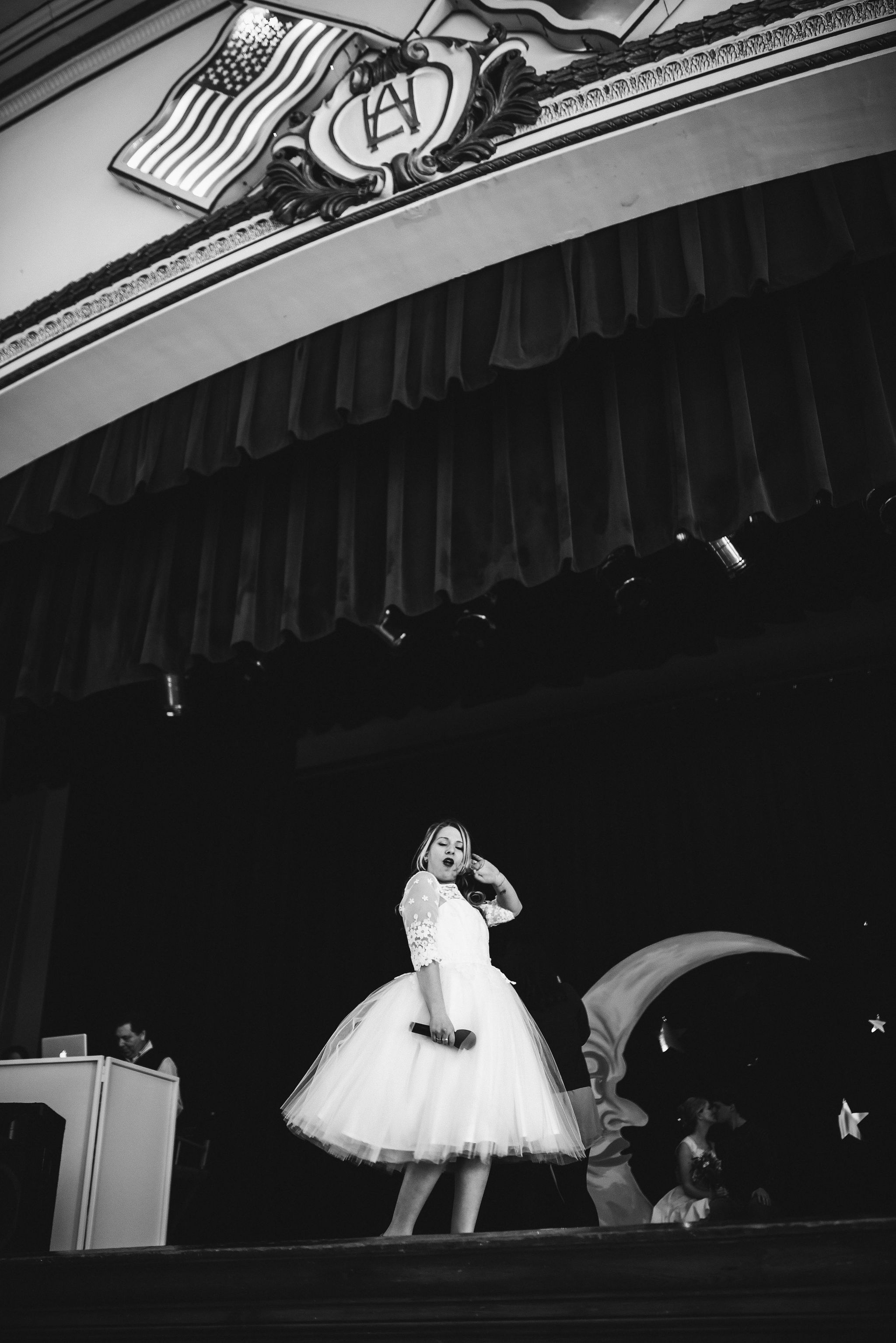 Baltimore, Lithuanian Dance Hall, Maryland Wedding Photographer, Vintage, Classic, 50s Style, Wedding Reception, Bride Posing on Stage, Black and White Photo