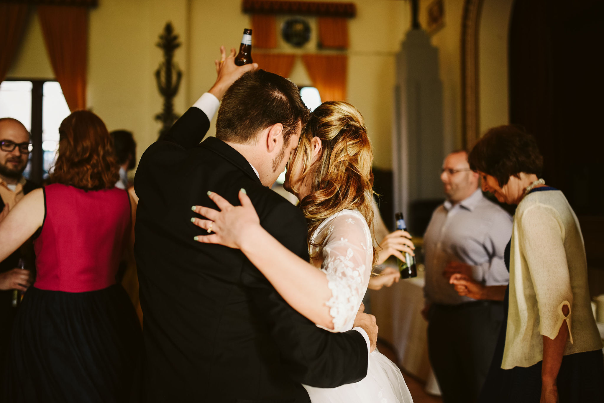 Baltimore, Lithuanian Dance Hall, Maryland Wedding Photographer, Vintage, Classic, 50s Style, Bride and Groom Dancing Cheek to Cheek, Candid Photo, Dancing at Wedding Reception