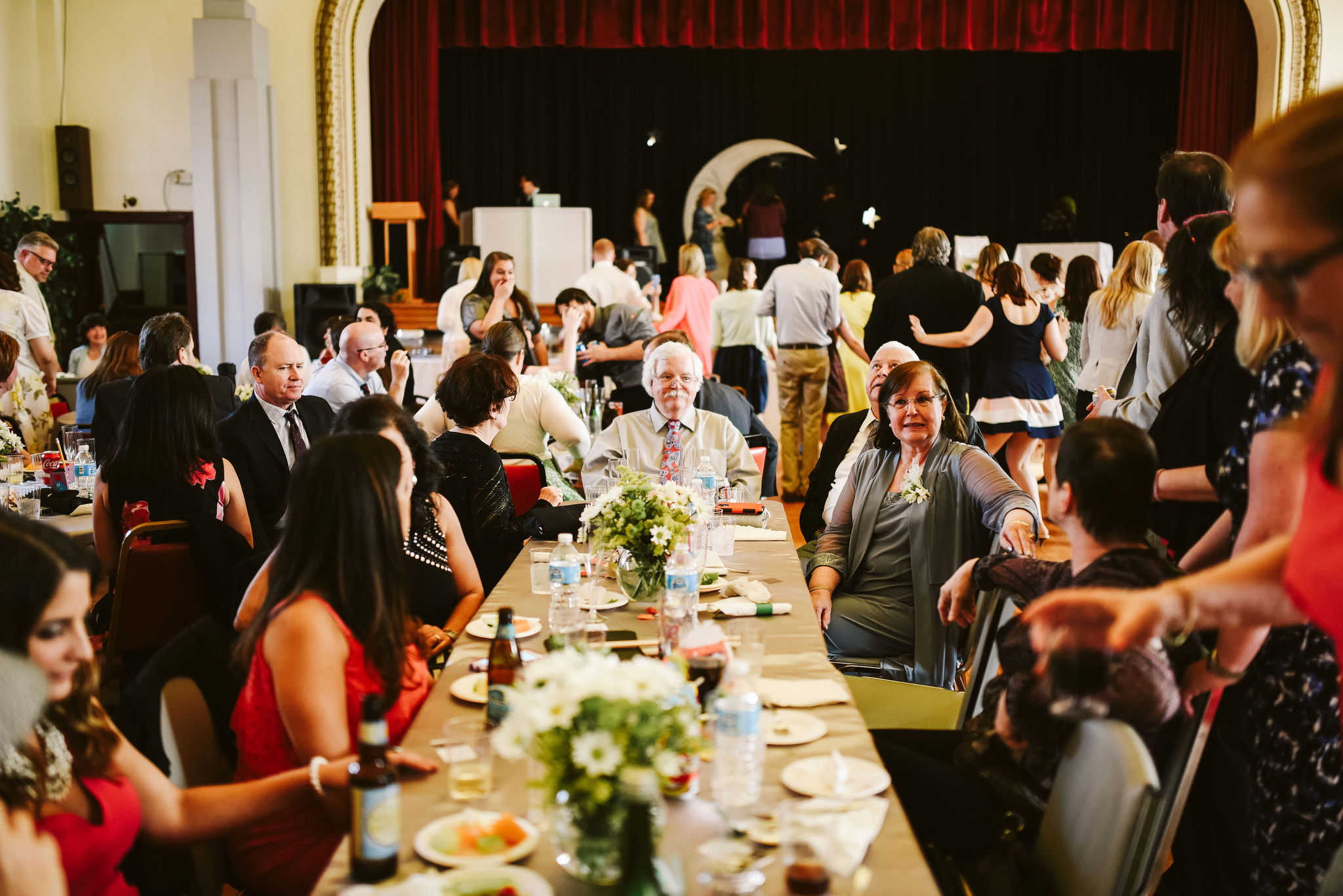 Baltimore, Lithuanian Dance Hall, Maryland Wedding Photographer, Vintage, Classic, 50s Style, Guests Chatting at Banquet Table, Reception