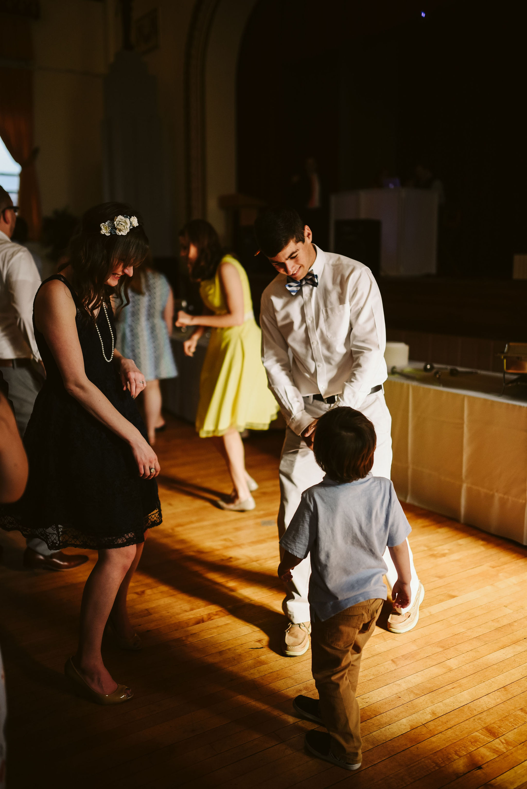 Baltimore, Lithuanian Dance Hall, Maryland Wedding Photographer, Vintage, Classic, 50s Style, Wedding Guests Dancing with Child at Reception