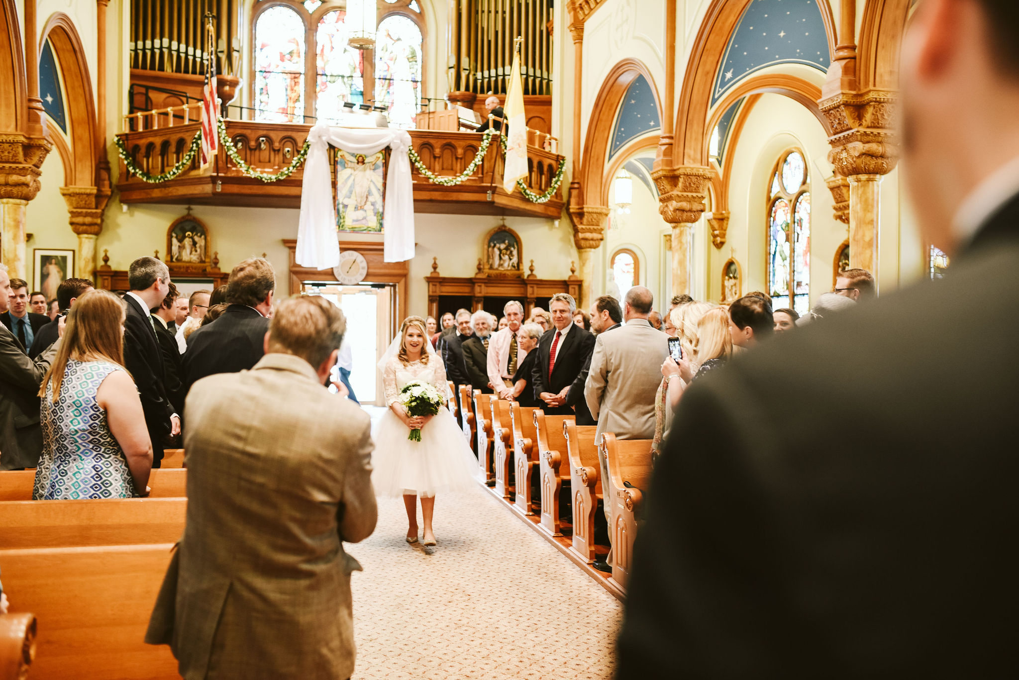 Baltimore, Church Wedding, Maryland Wedding Photographer, Vintage, Classic, 50s Style, Tea-length Wedding Dress, Bride Walking Down Aisle