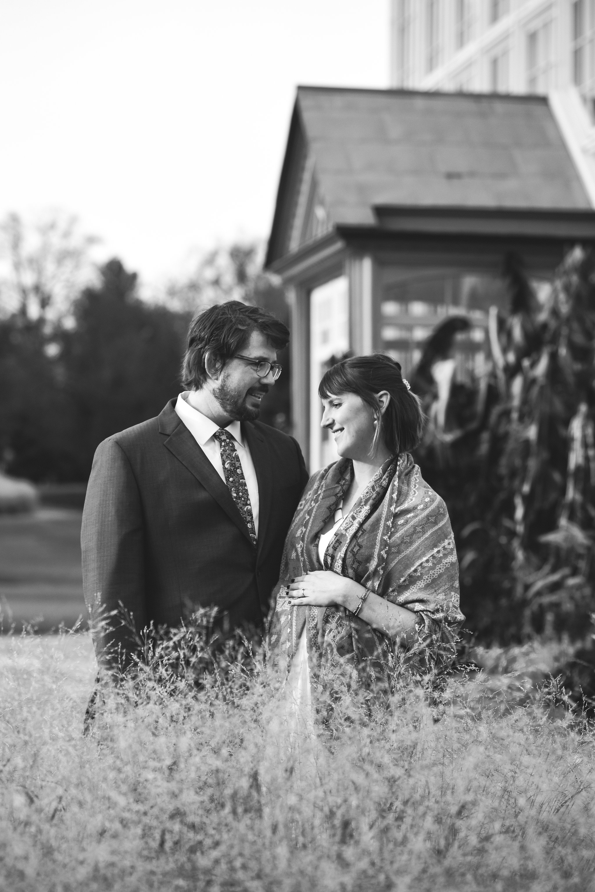 Rawlings Conservatory, Druid Hill Park, Intimate Wedding, Nature, Baltimore Wedding Photographer, Romantic, Classic, Bride and Groom Smiling Together, Black and White Photo