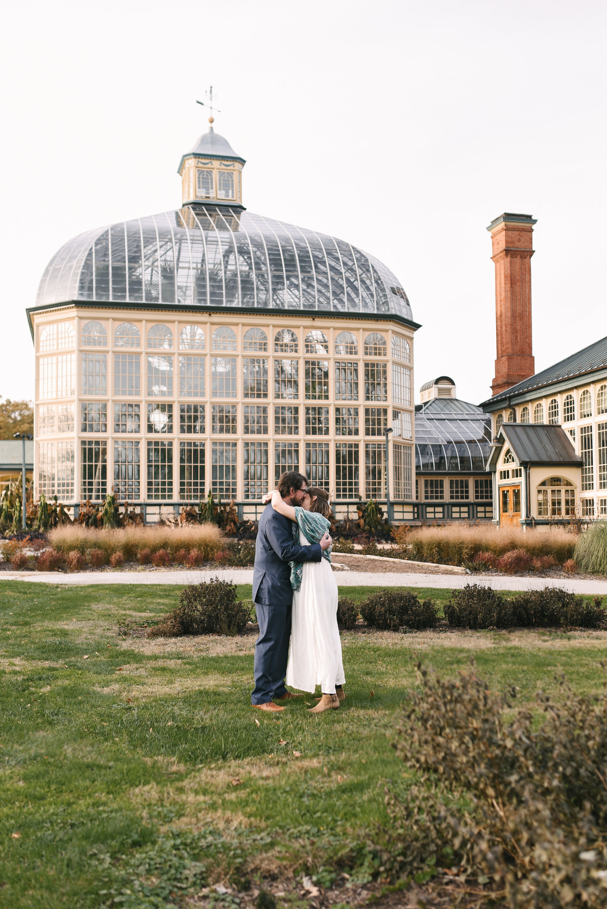 Rawlings Conservatory, Druid Hill Park, Intimate Wedding, Nature, Baltimore Wedding Photographer, Romantic, Classic, Bride and Groom Kissing Outside Venue